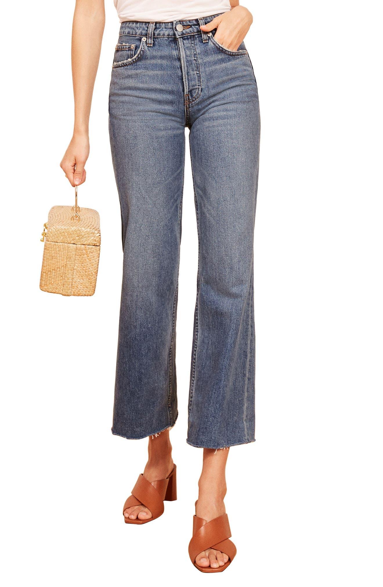 REFORMATION, Fawcett High Waist Crop Jeans, Main thumbnail 1, color, CELTIC