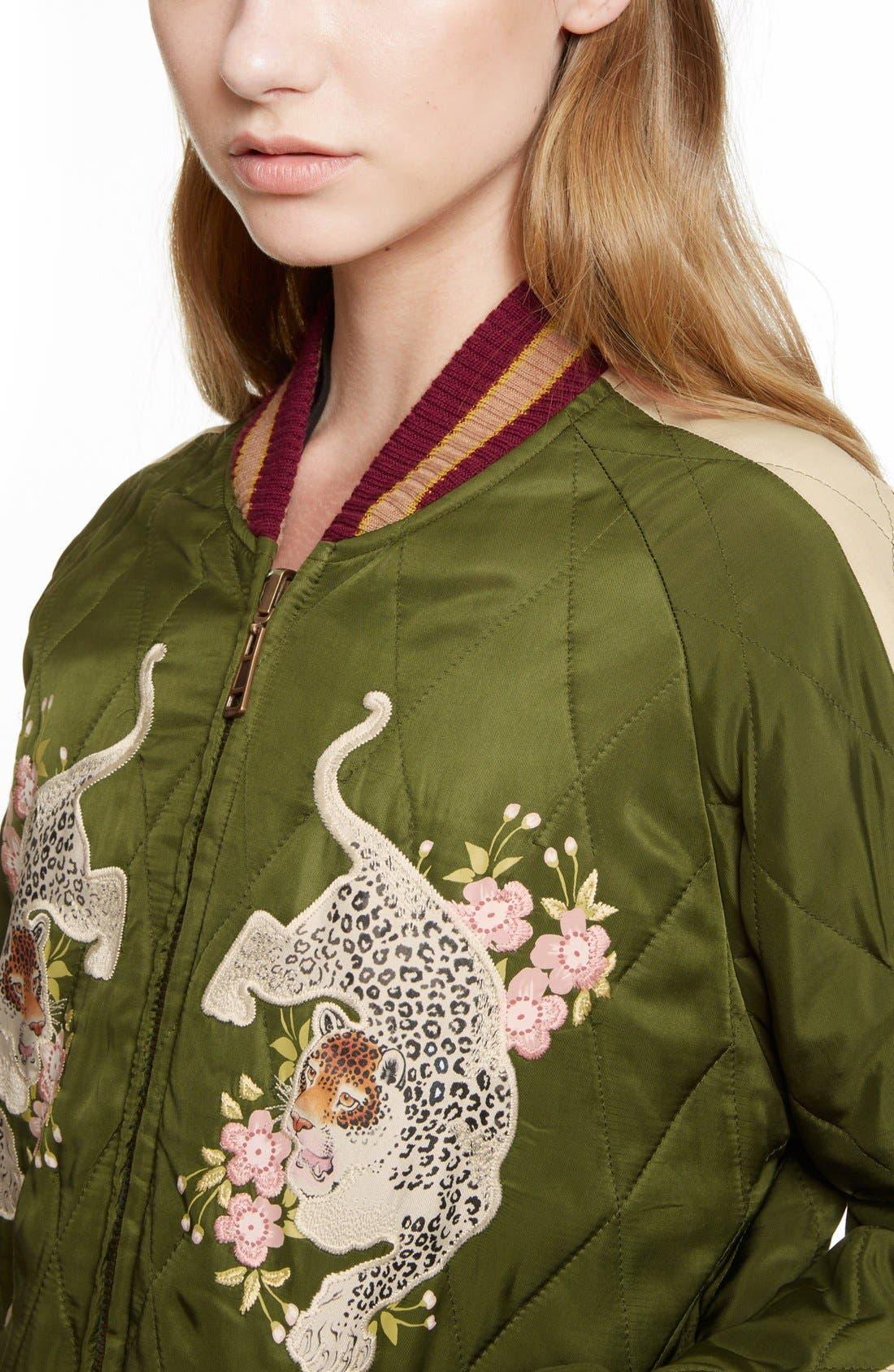 CHLOÉ, Reversible Embroidered Tech Satin Bomber Jacket, Alternate thumbnail 4, color, 301