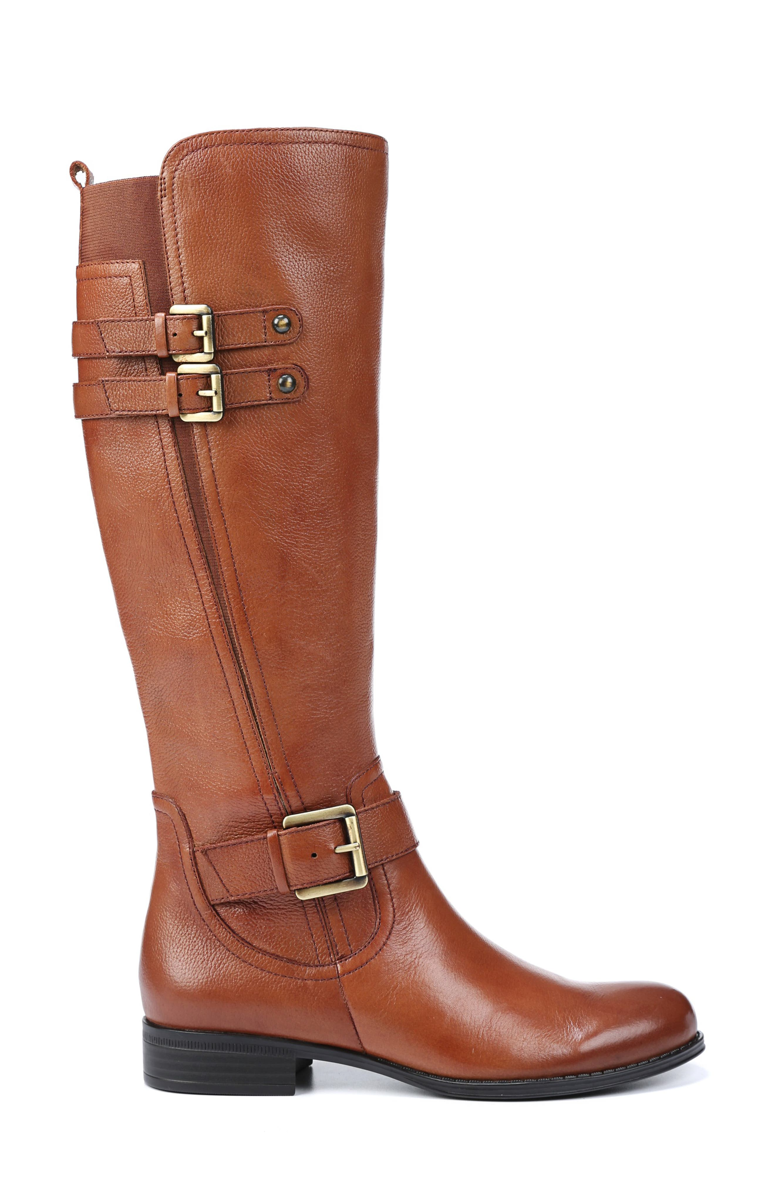 NATURALIZER, Jessie Knee High Riding Boot, Alternate thumbnail 3, color, BANANA BREAD LEATHER