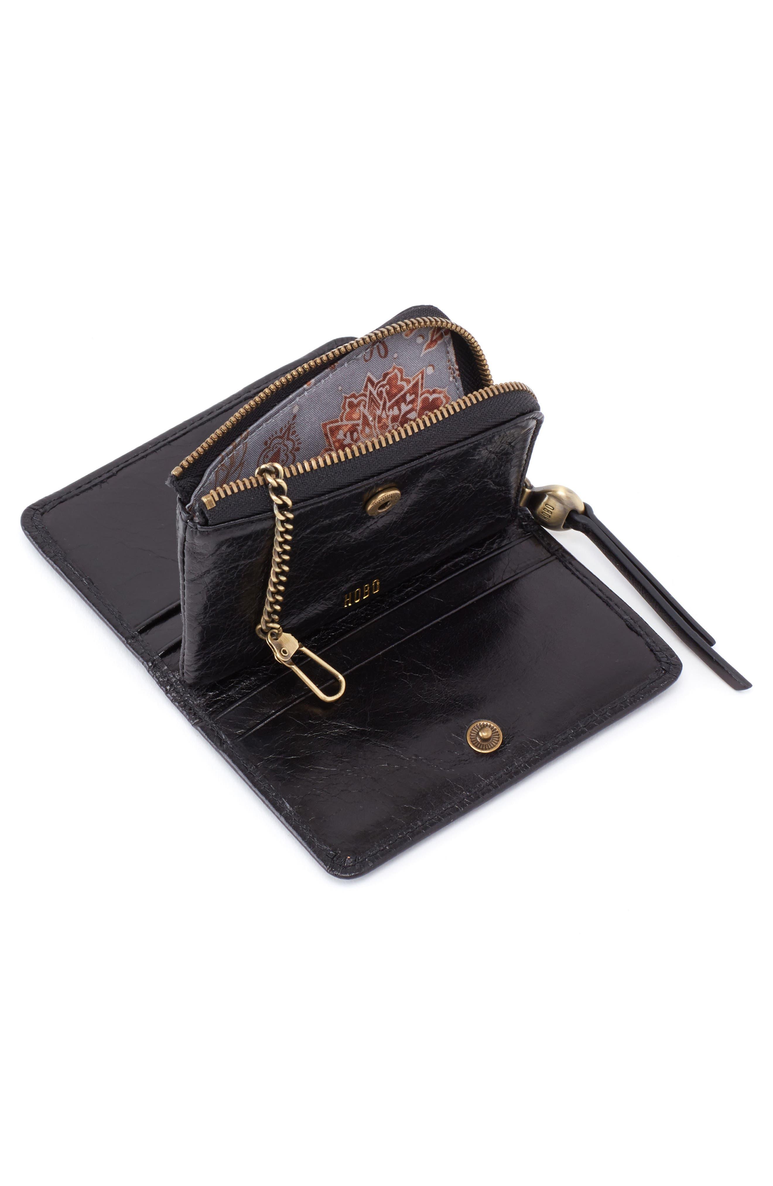 HOBO, Dart Calfskin Leather Wallet, Alternate thumbnail 2, color, BLACK