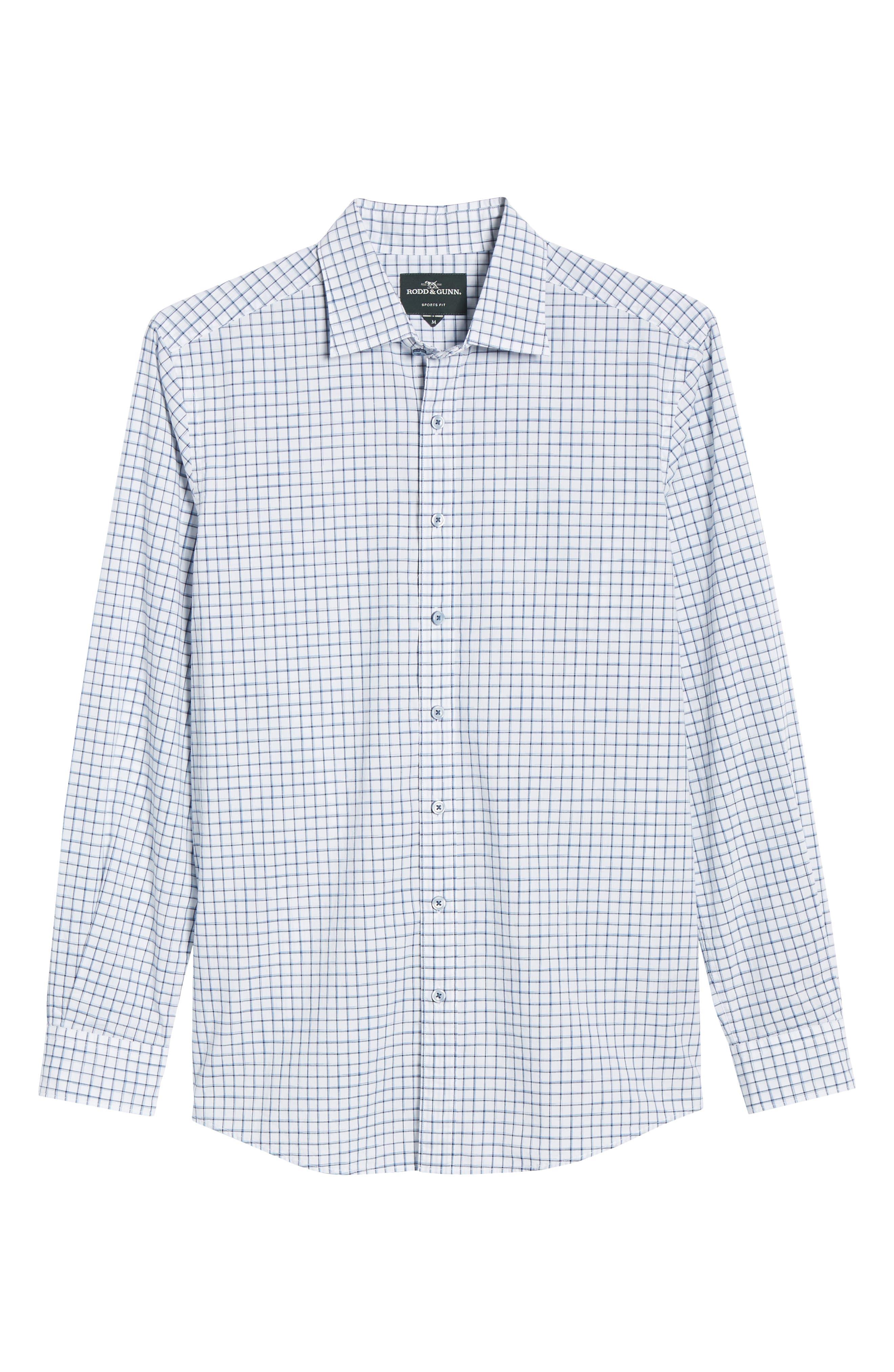 RODD & GUNN, Gowerville Regular Fit Check Sport Shirt, Alternate thumbnail 5, color, SNOW
