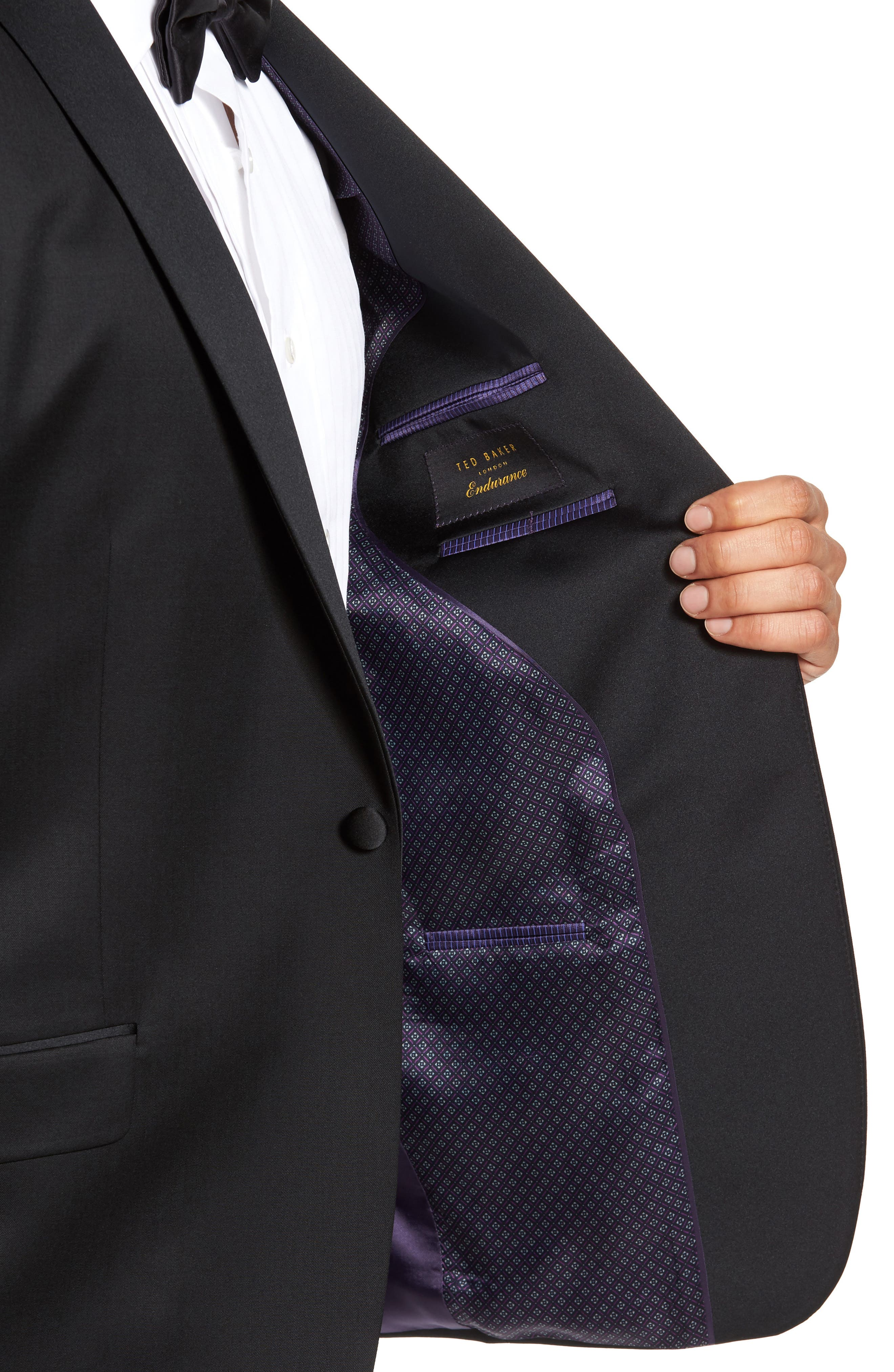 TED BAKER LONDON, Josh Trim Fit Wool & Mohair Tuxedo, Alternate thumbnail 4, color, BLACK