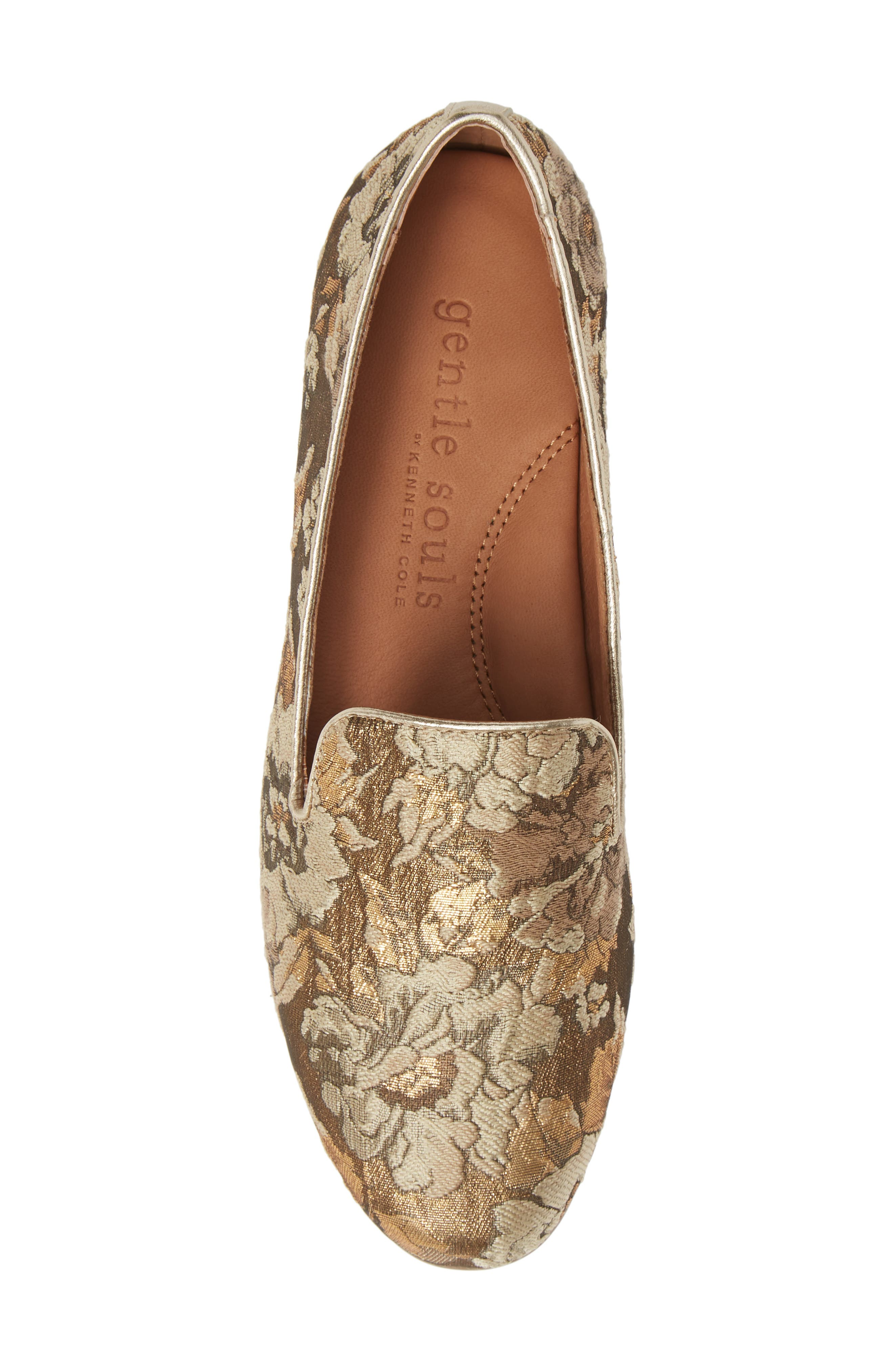 GENTLE SOULS BY KENNETH COLE, Eugene Flat, Alternate thumbnail 5, color, GOLD MULTI FABRIC