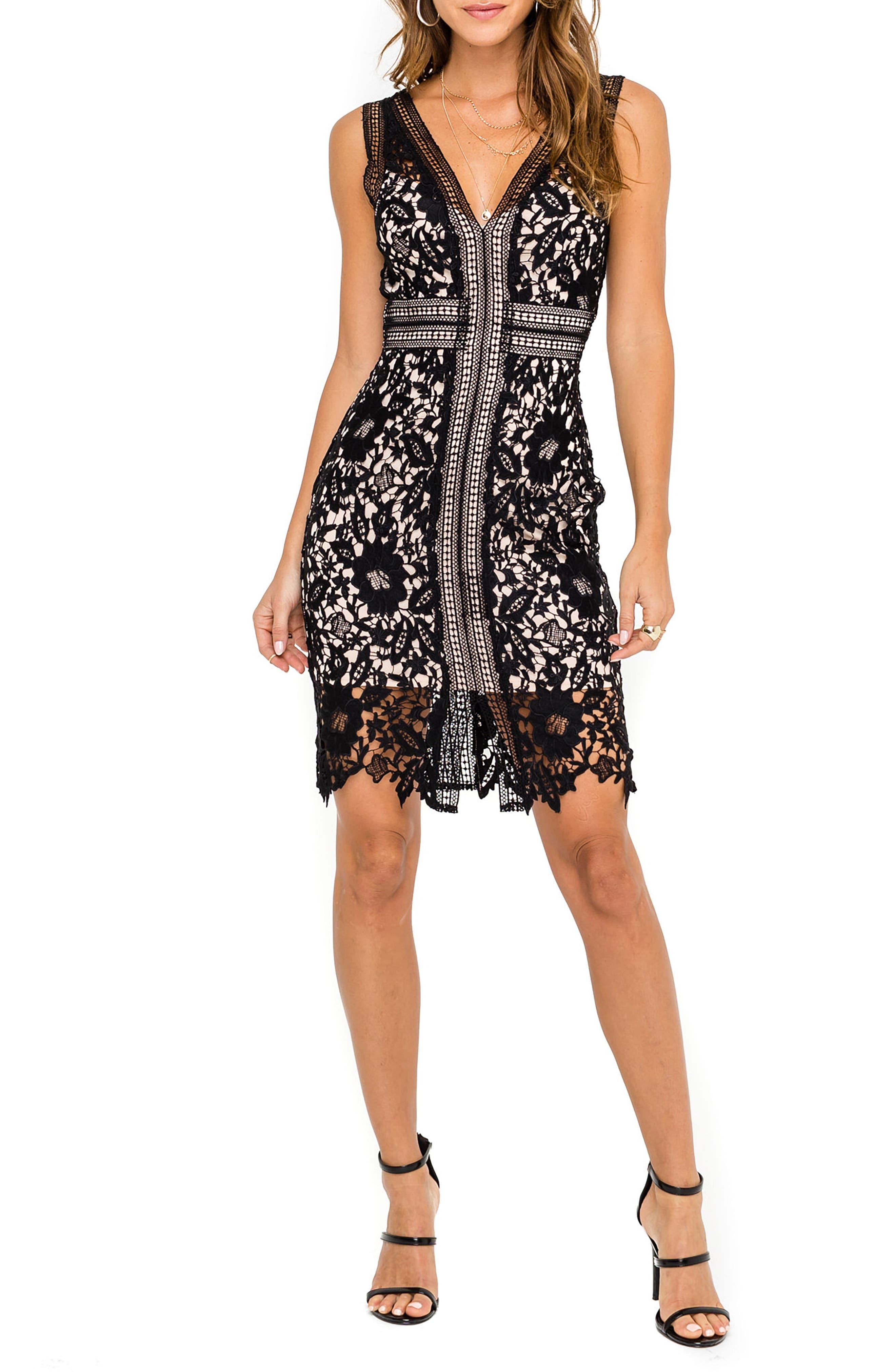 ASTR THE LABEL, Lace Sheath Dress, Main thumbnail 1, color, 001