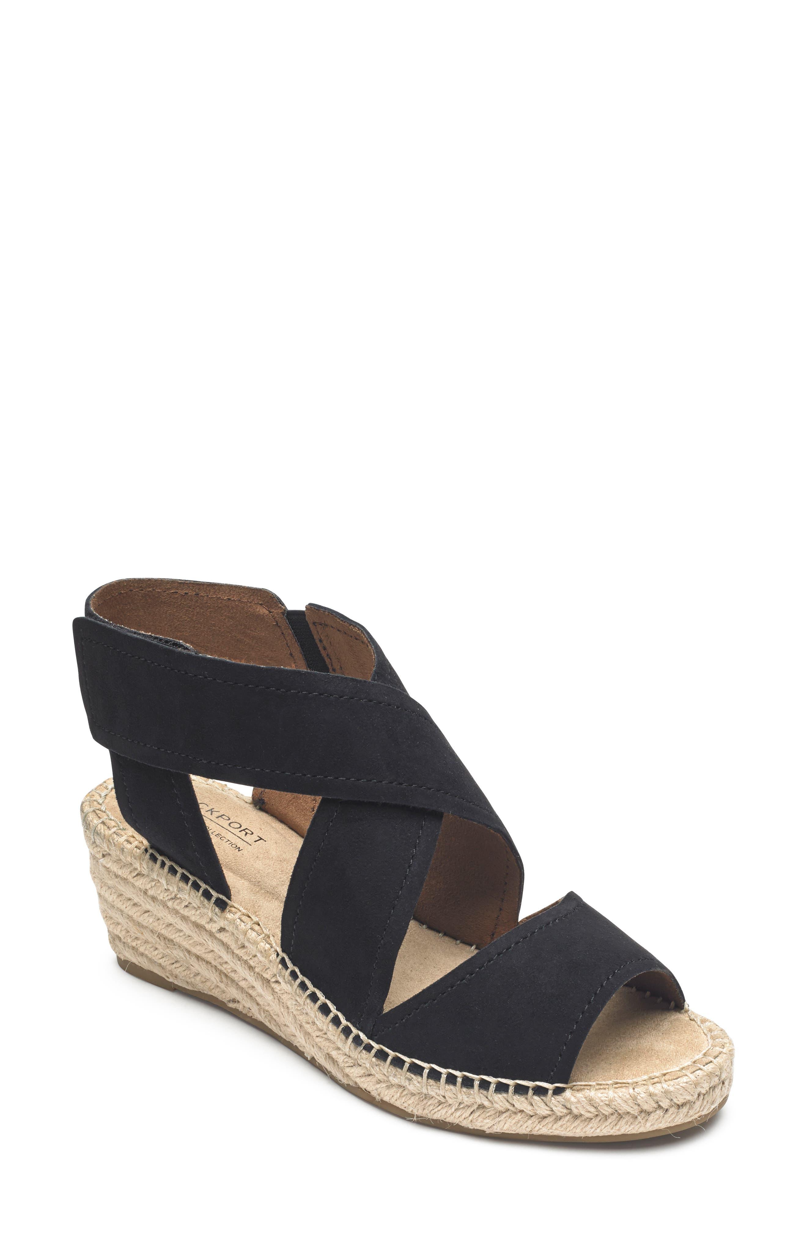 ROCKPORT COBB HILL Kairi Wedge Sandal, Main, color, BLACK SUEDE
