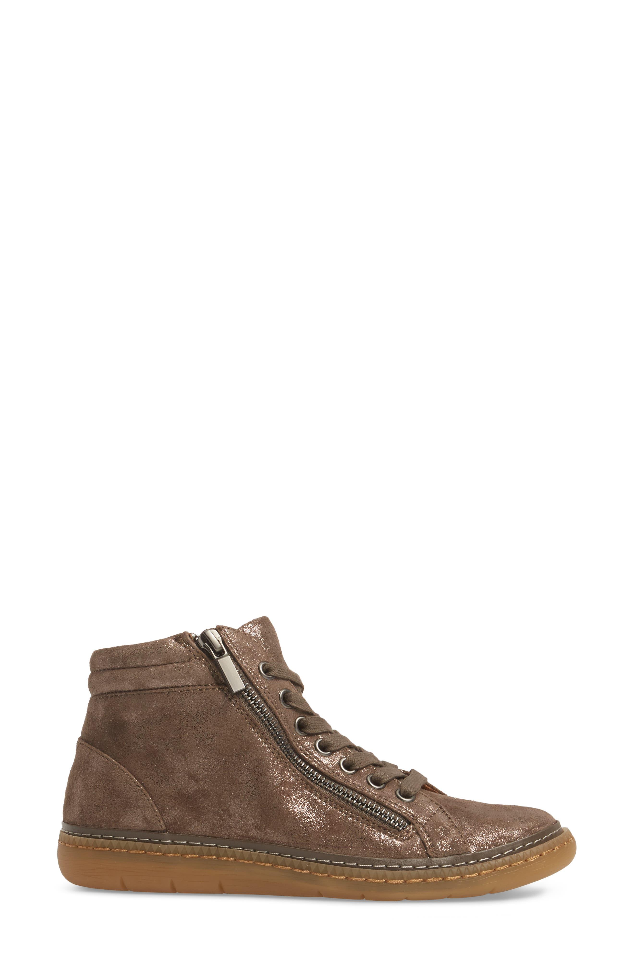SÖFFT, Annaleigh High Top Sneaker, Alternate thumbnail 3, color, SMOKE FOIL SUEDE
