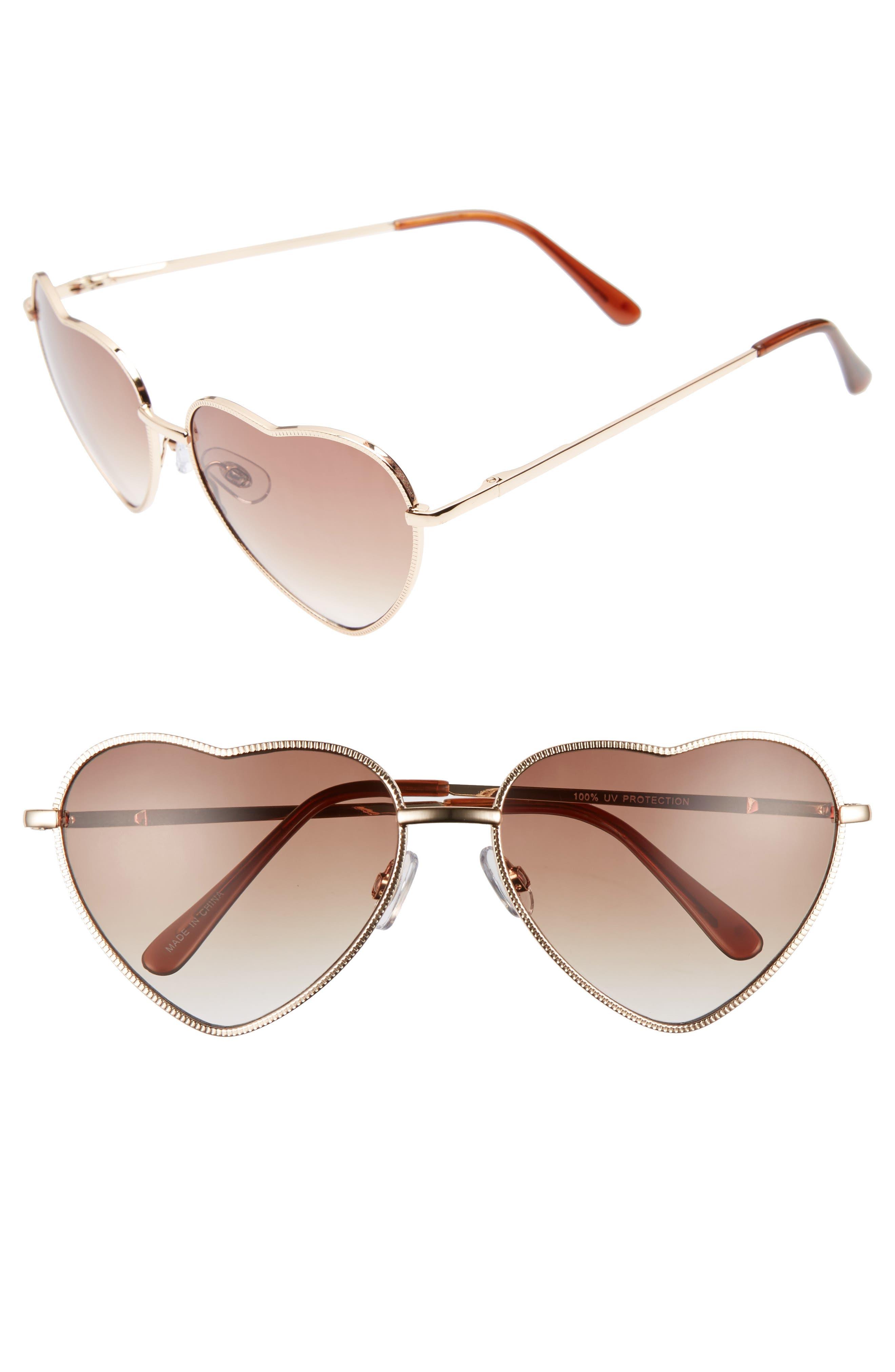 BP., Heart Shaped 58mm Sunglasses, Alternate thumbnail 2, color, GOLD/ BROWN