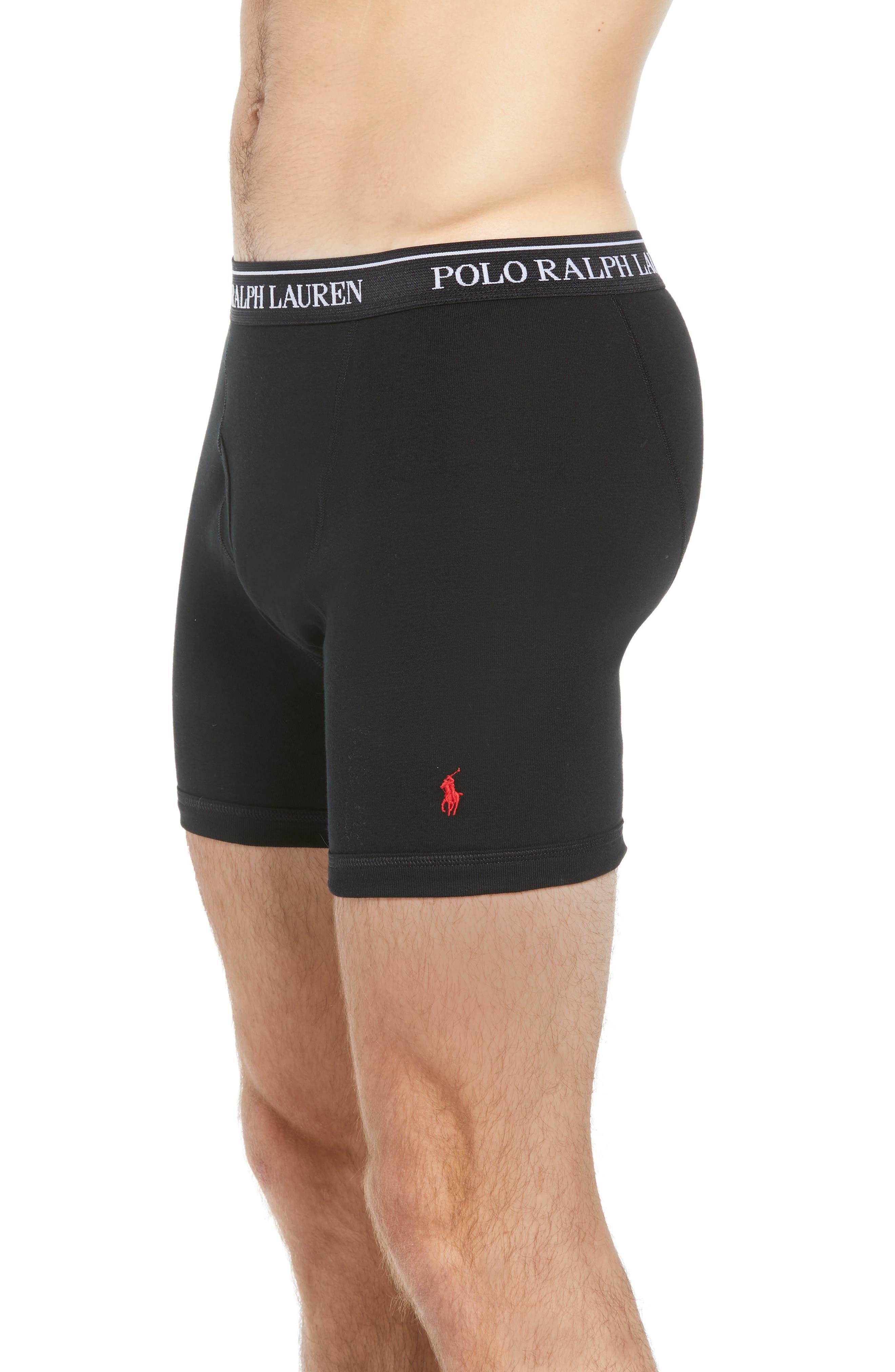POLO RALPH LAUREN, 3-Pack Cotton Boxer Briefs, Alternate thumbnail 4, color, BLACK/ RED