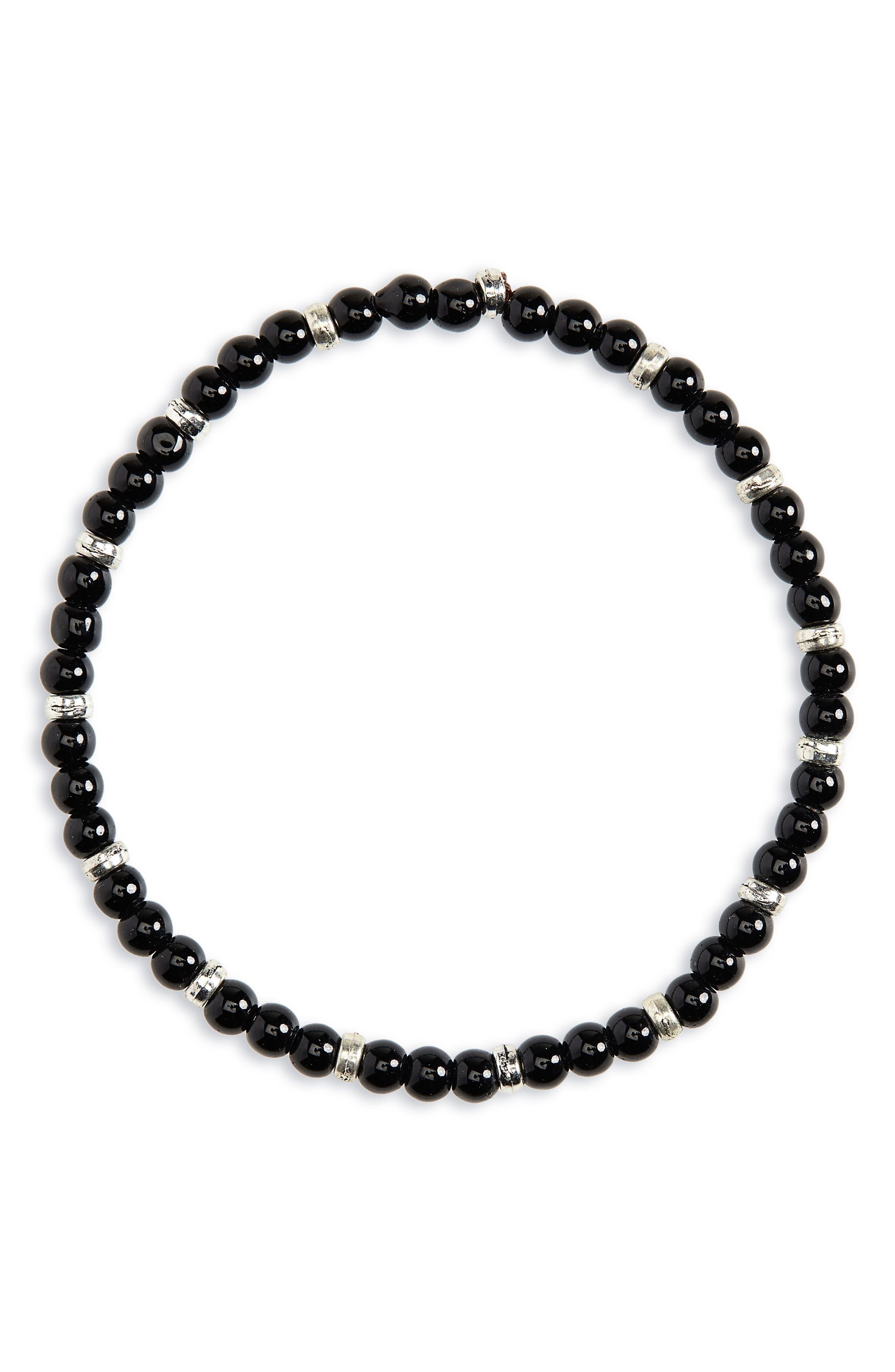 NORDSTROM MEN'S SHOP, Beaded Bracelet, Main thumbnail 1, color, BLACK SILVER