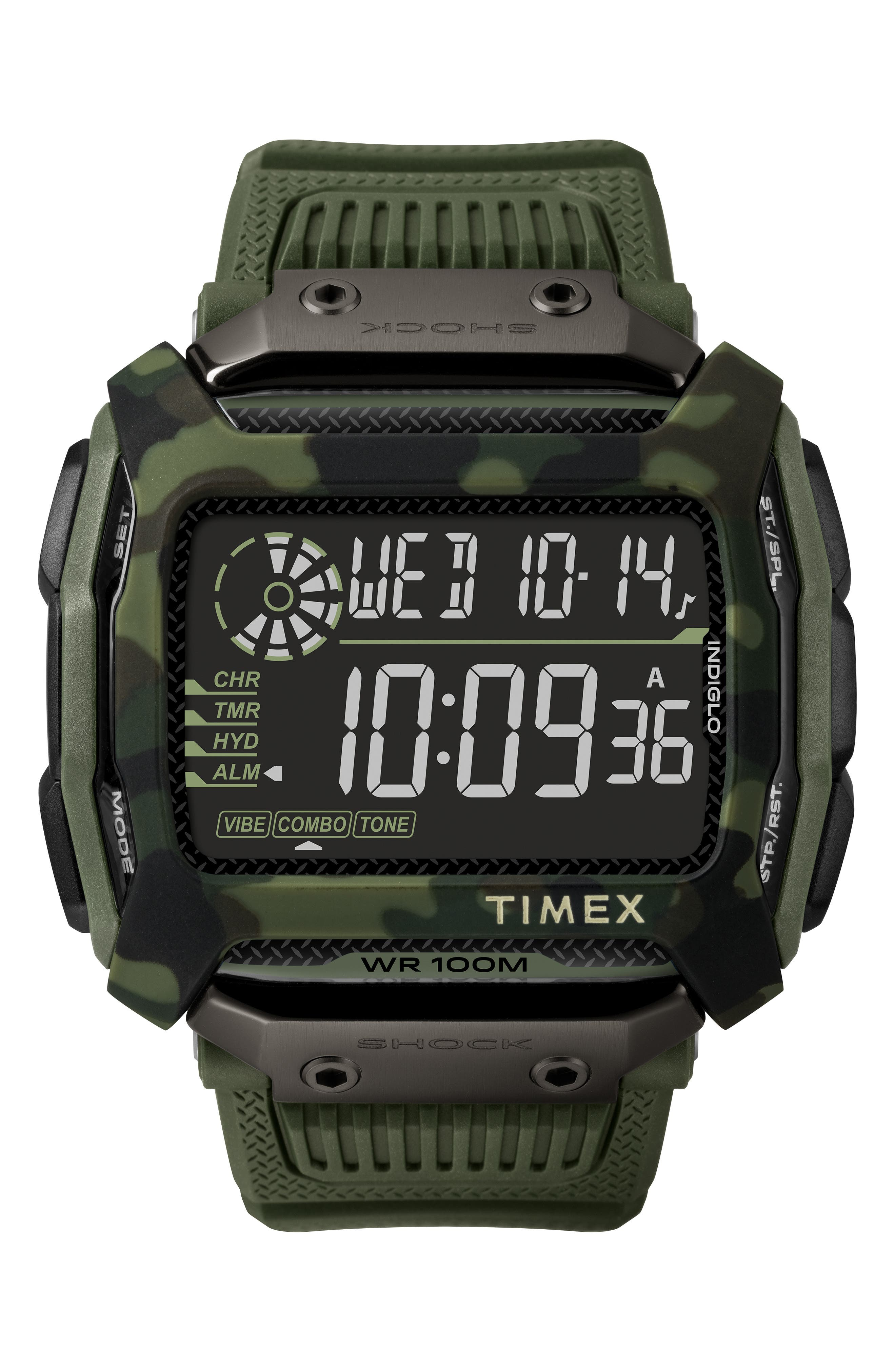 TIMEX<SUP>®</SUP>, Timex Command<sup>™</sup> Shock Digital Silicone Strap Watch, 54mm, Main thumbnail 1, color, OLIVE/ BLACK/ OLIVE