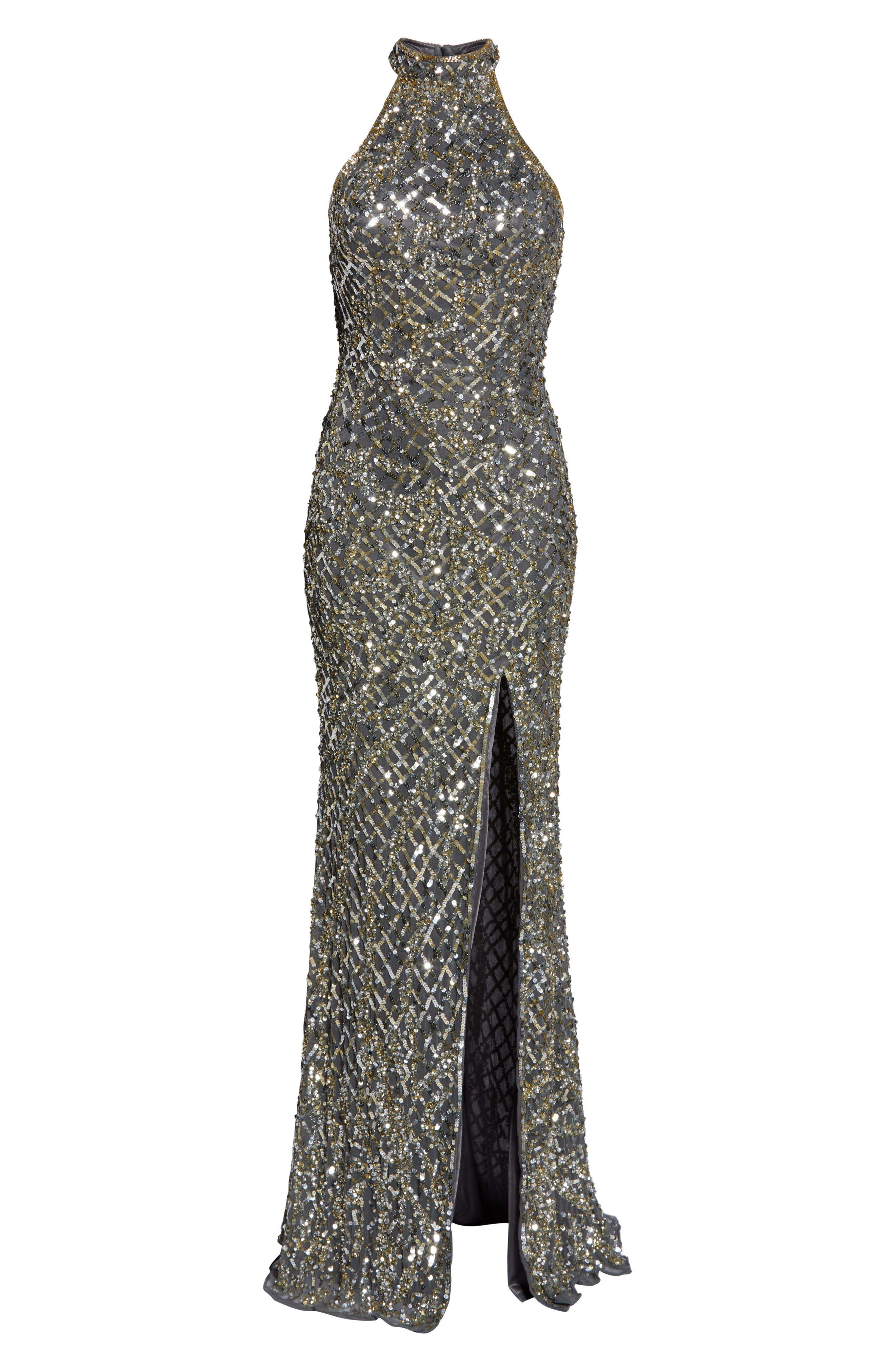 MAC DUGGAL, Beaded A-Line Halter Gown, Alternate thumbnail 7, color, PLATINUM