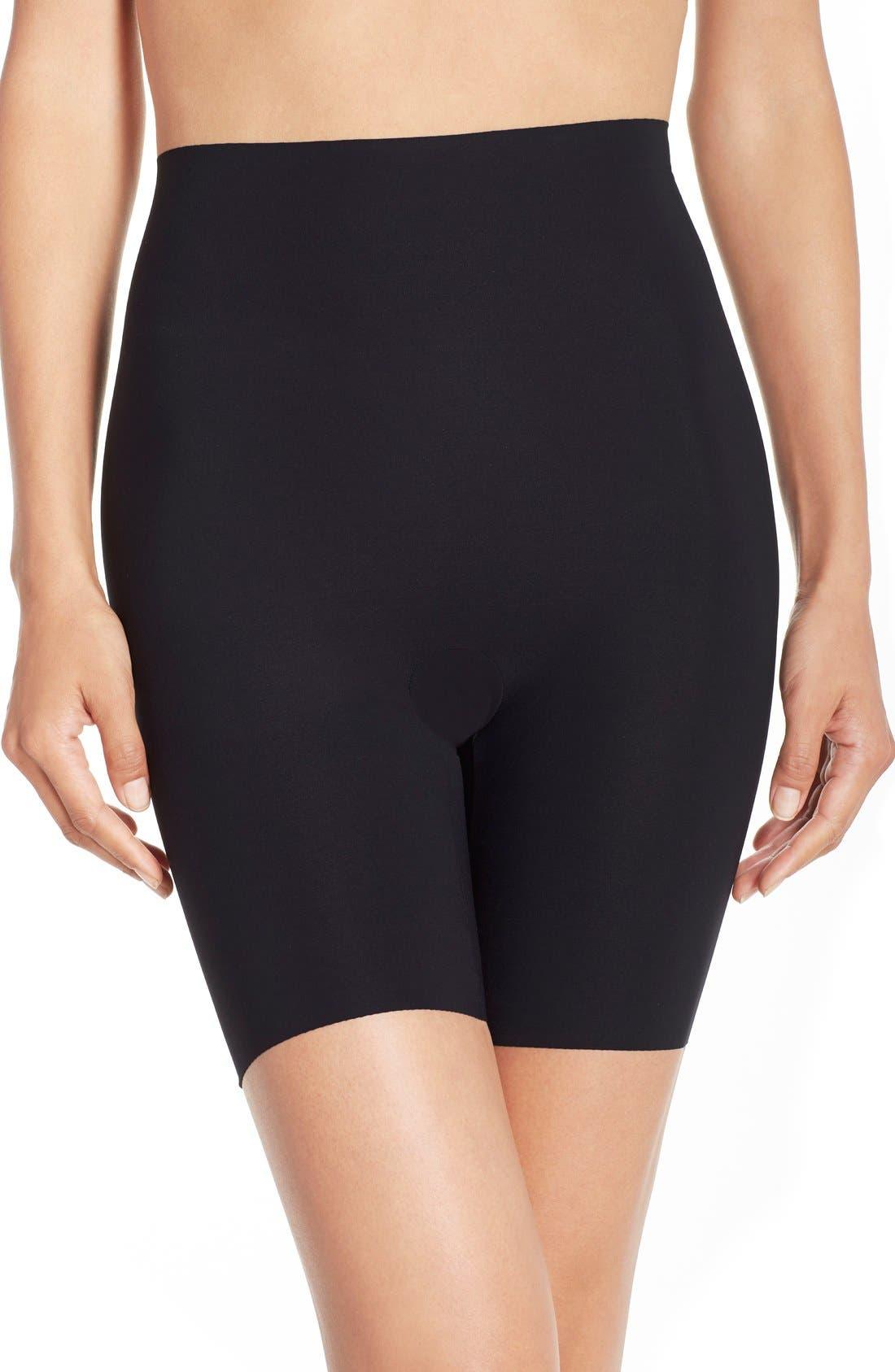 COMMANDO 'Control' High Waist Shaping Shorts, Main, color, BLACK