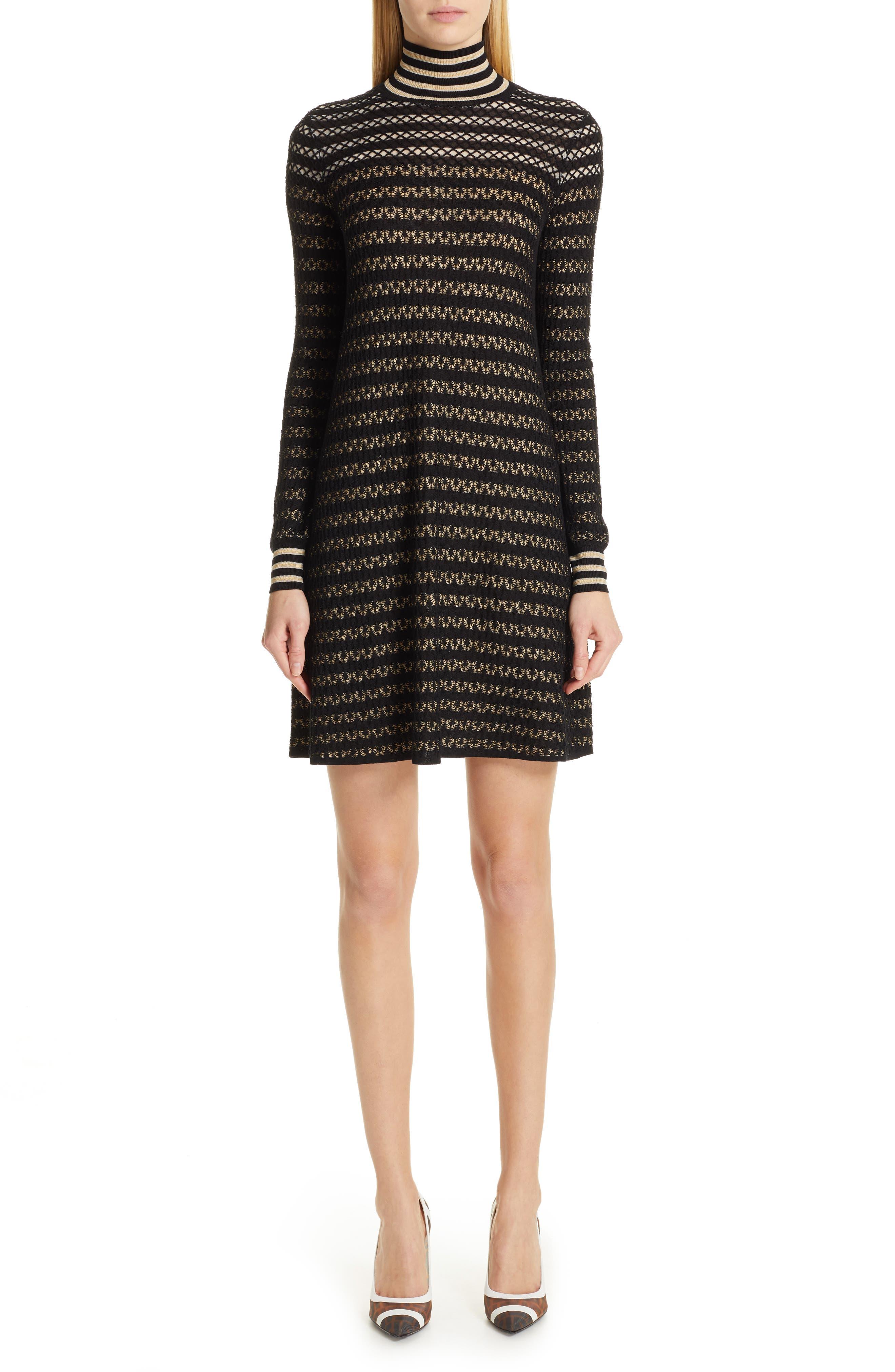 Fendi Striped Silk Stretch Lace Turtleneck Dress, 8 IT - Black