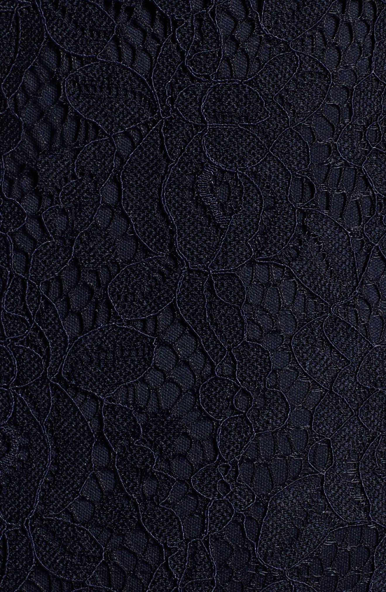 ELIZA J, Cap Sleeve Lace Sheath Dress, Alternate thumbnail 6, color, NAVY