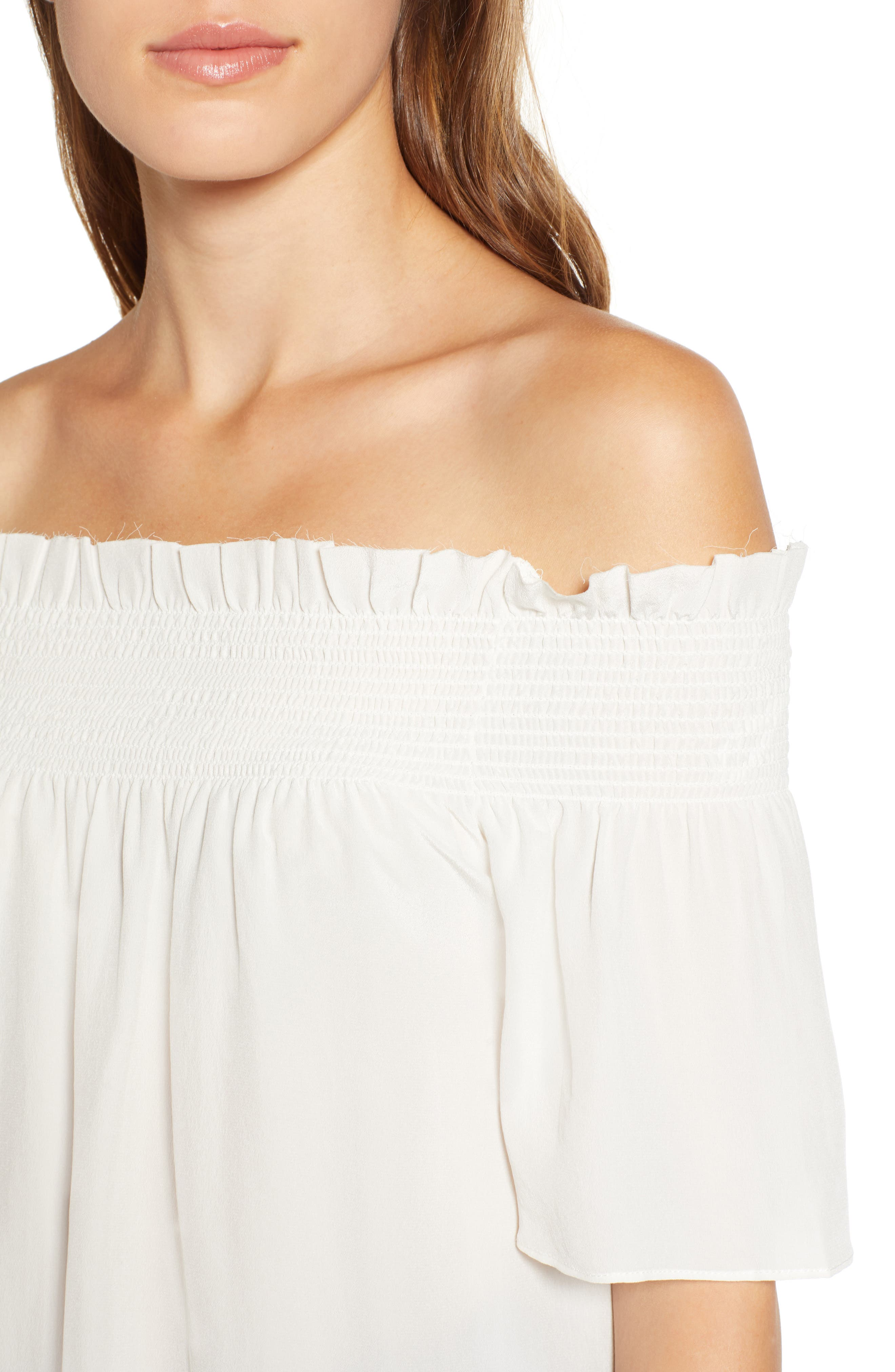 7 FOR ALL MANKIND<SUP>®</SUP>, Off the Shoulder Smocked Silk Top, Alternate thumbnail 4, color, NATURAL WHITE