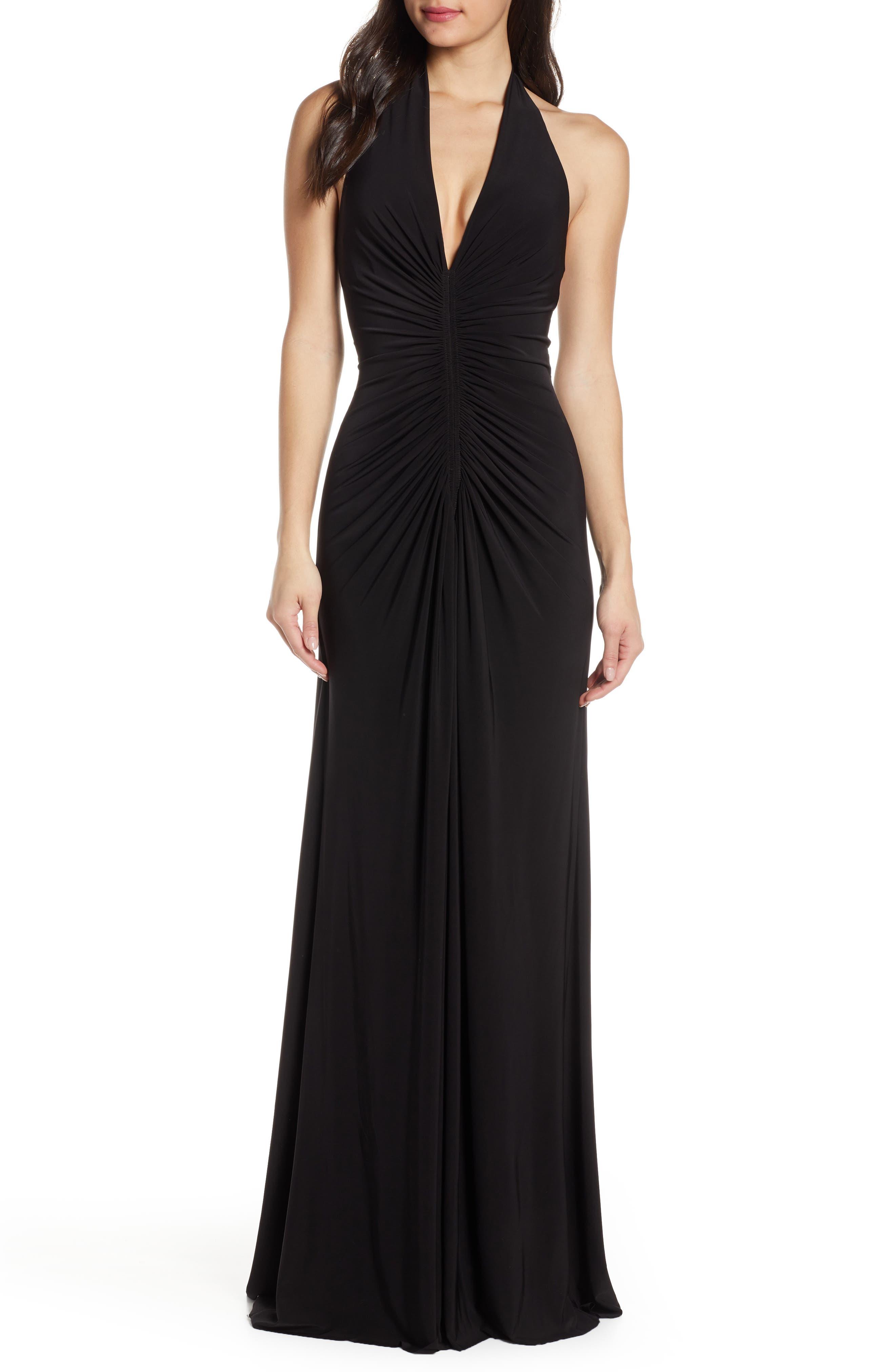 Jill Jill Stuart Jersey Halter Gown, Black