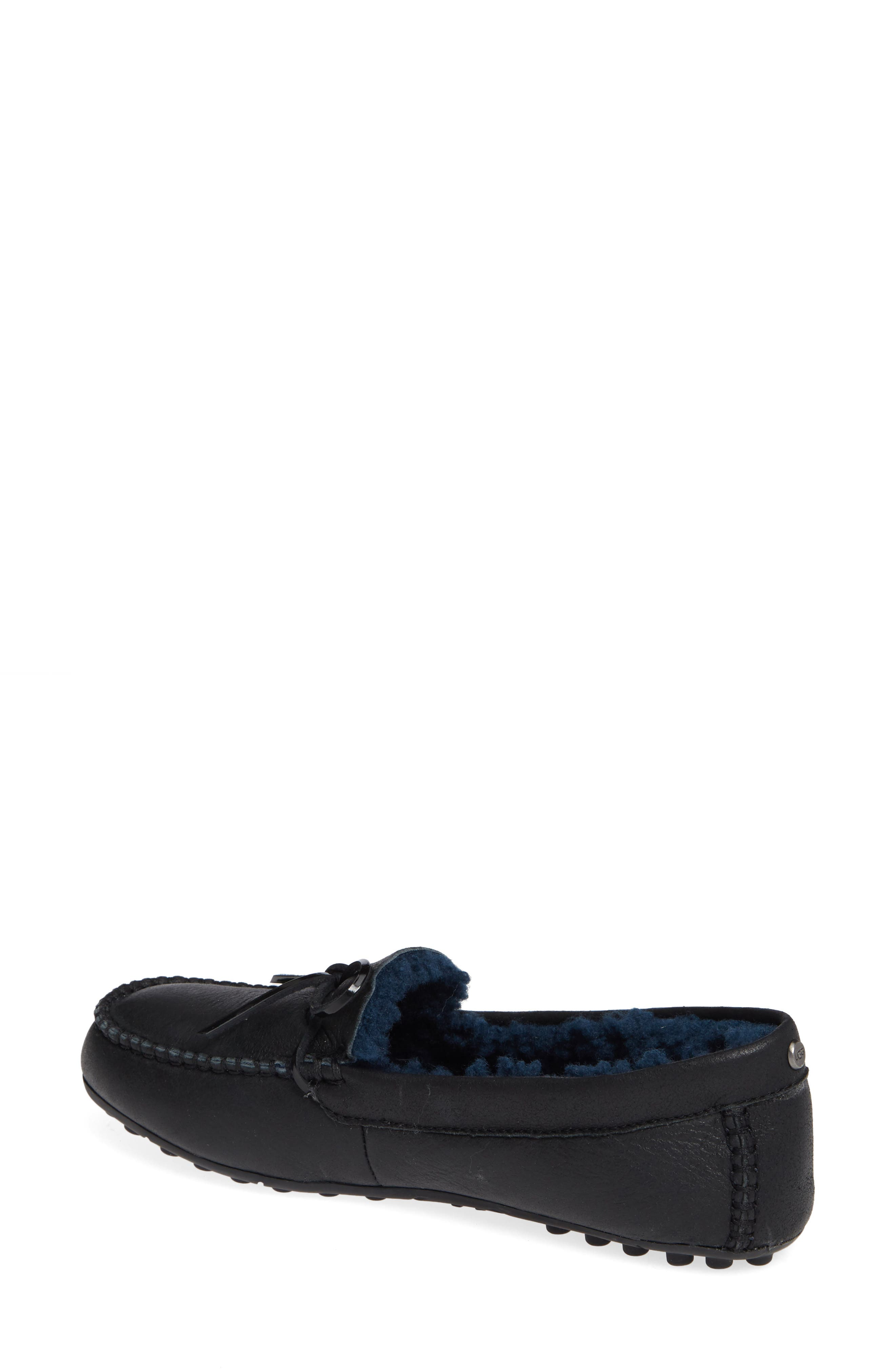 UGG<SUP>®</SUP>, Deluxe Loafer, Alternate thumbnail 2, color, BLACK LEATHER