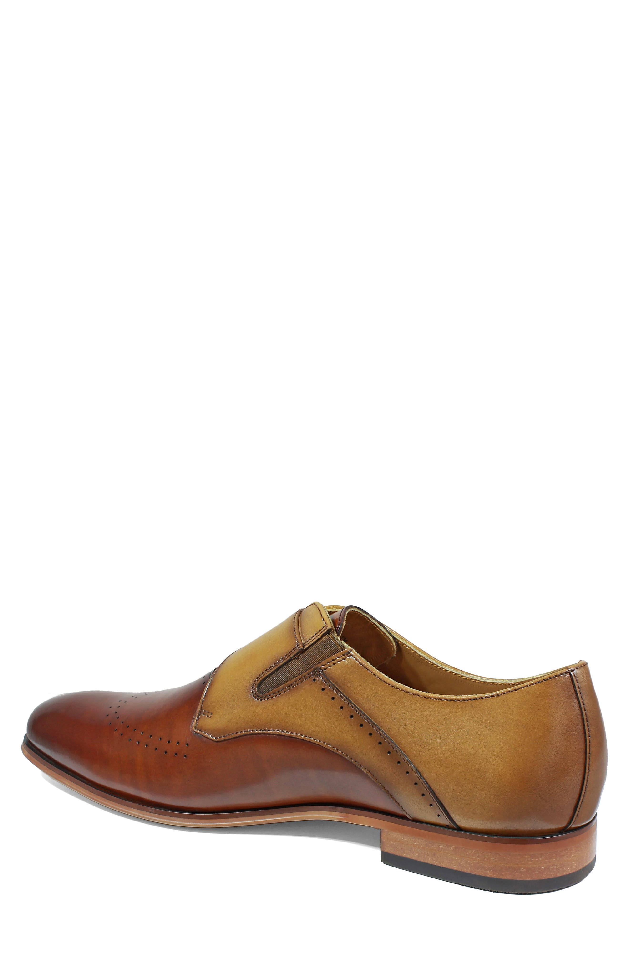 STACY ADAMS, Saxton Perforated Monk Strap Shoe, Alternate thumbnail 2, color, 201