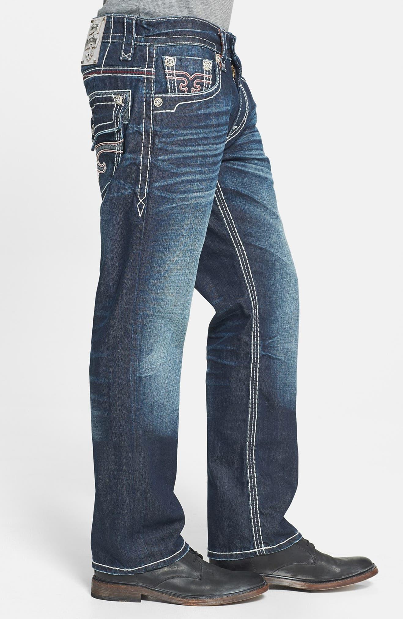 317aa085 Rock Revival 'Grayson' Straight Leg Jeans (Dark Blue)   Nordstrom