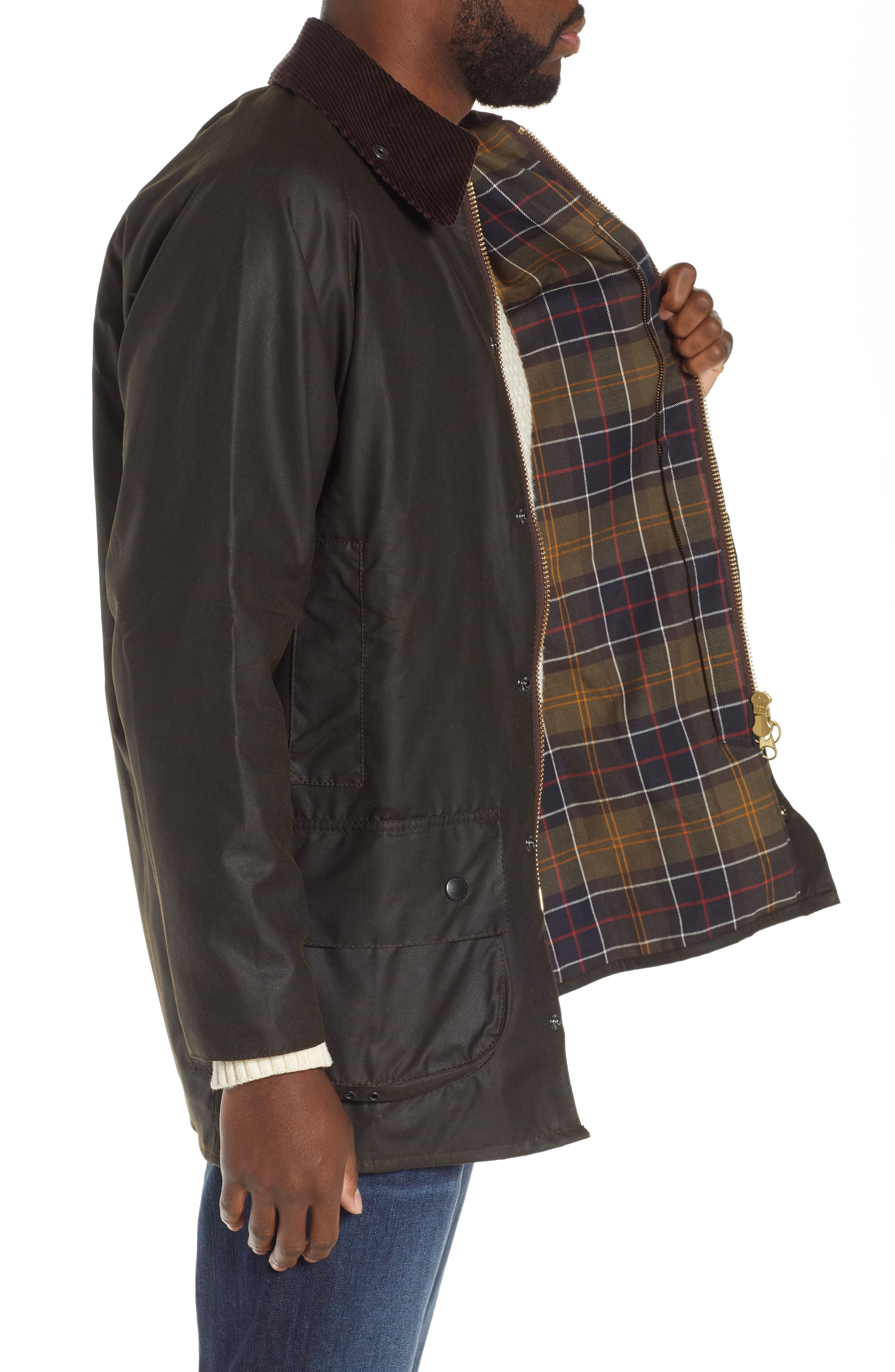 BARBOUR, 'Classic Beaufort' Relaxed Fit Waxed Cotton Jacket, Alternate thumbnail 5, color, OLIVE