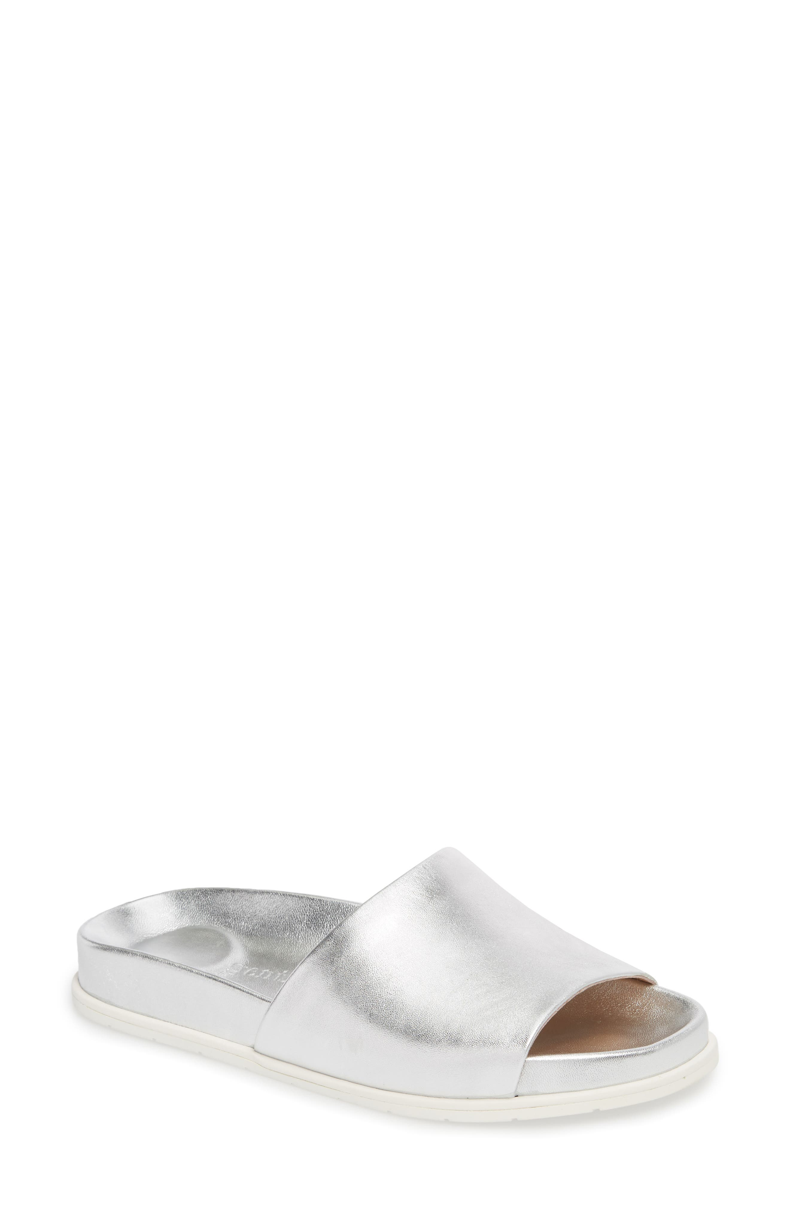 GENTLE SOULS BY KENNETH COLE, Iona Slide Sandal, Main thumbnail 1, color, SILVER METALLIC LEATHER