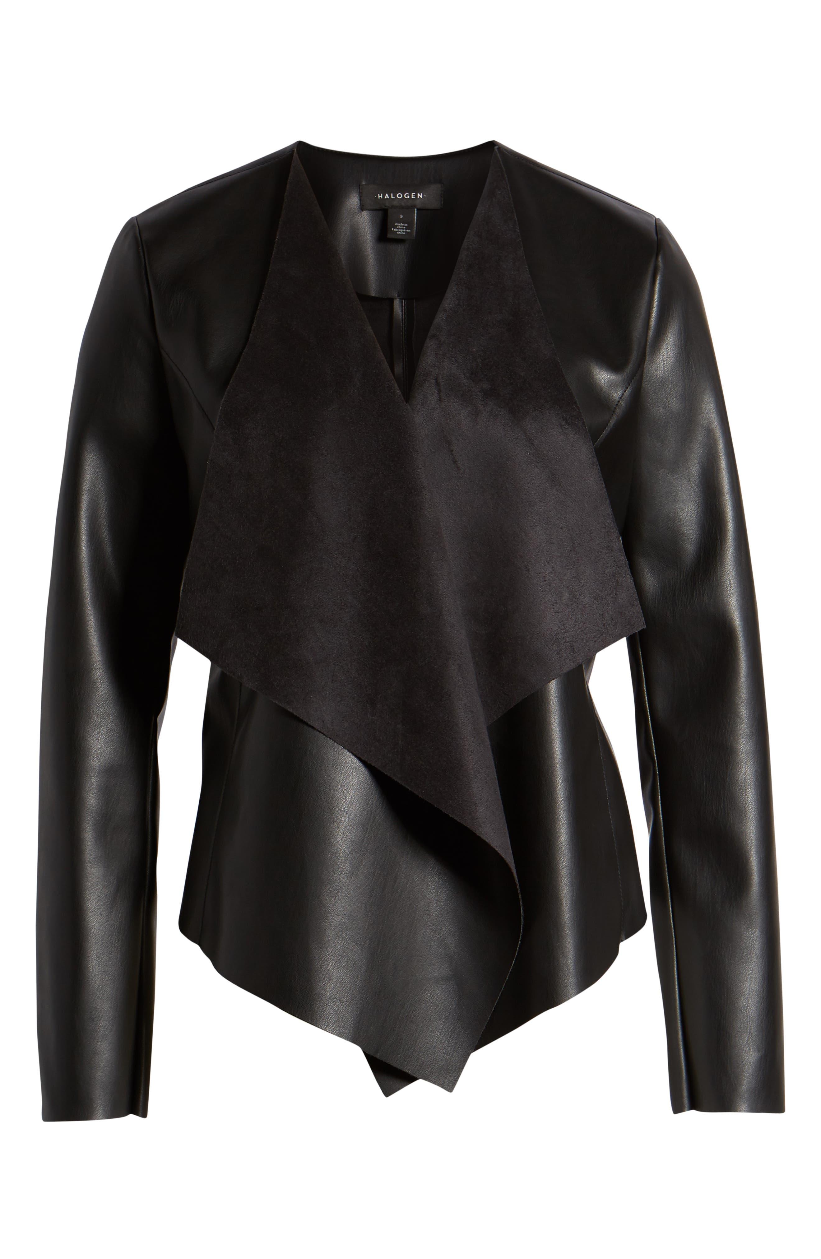 HALOGEN<SUP>®</SUP>, Drape Faux Leather Jacket, Alternate thumbnail 6, color, BLACK