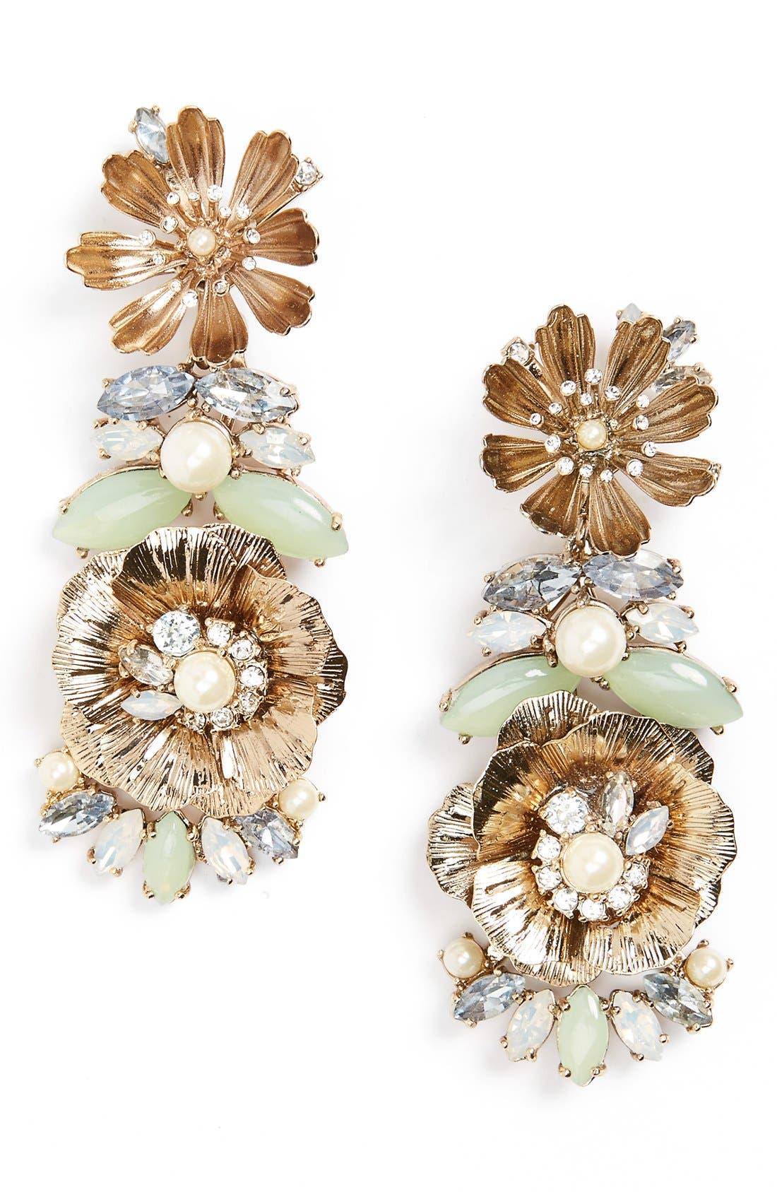 MARCHESA, Crystal Drop Earrings, Main thumbnail 1, color, 440