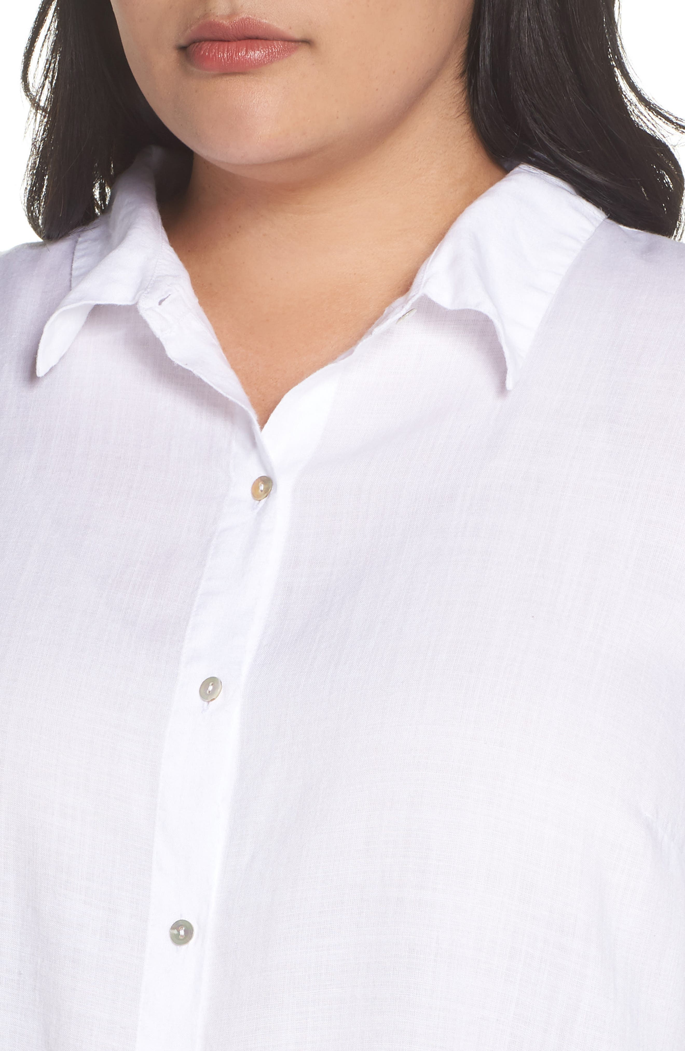 EILEEN FISHER, Tencel<sup>®</sup> Lyocell Shirt, Alternate thumbnail 4, color, WHITE