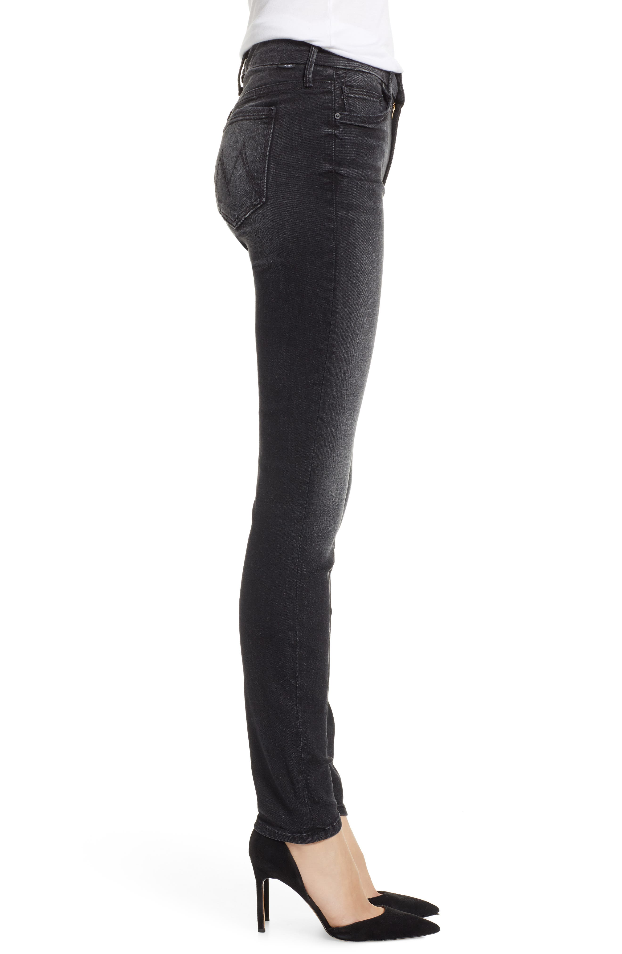 MOTHER, The Looker Mid Rise Skinny Jeans, Alternate thumbnail 4, color, 001