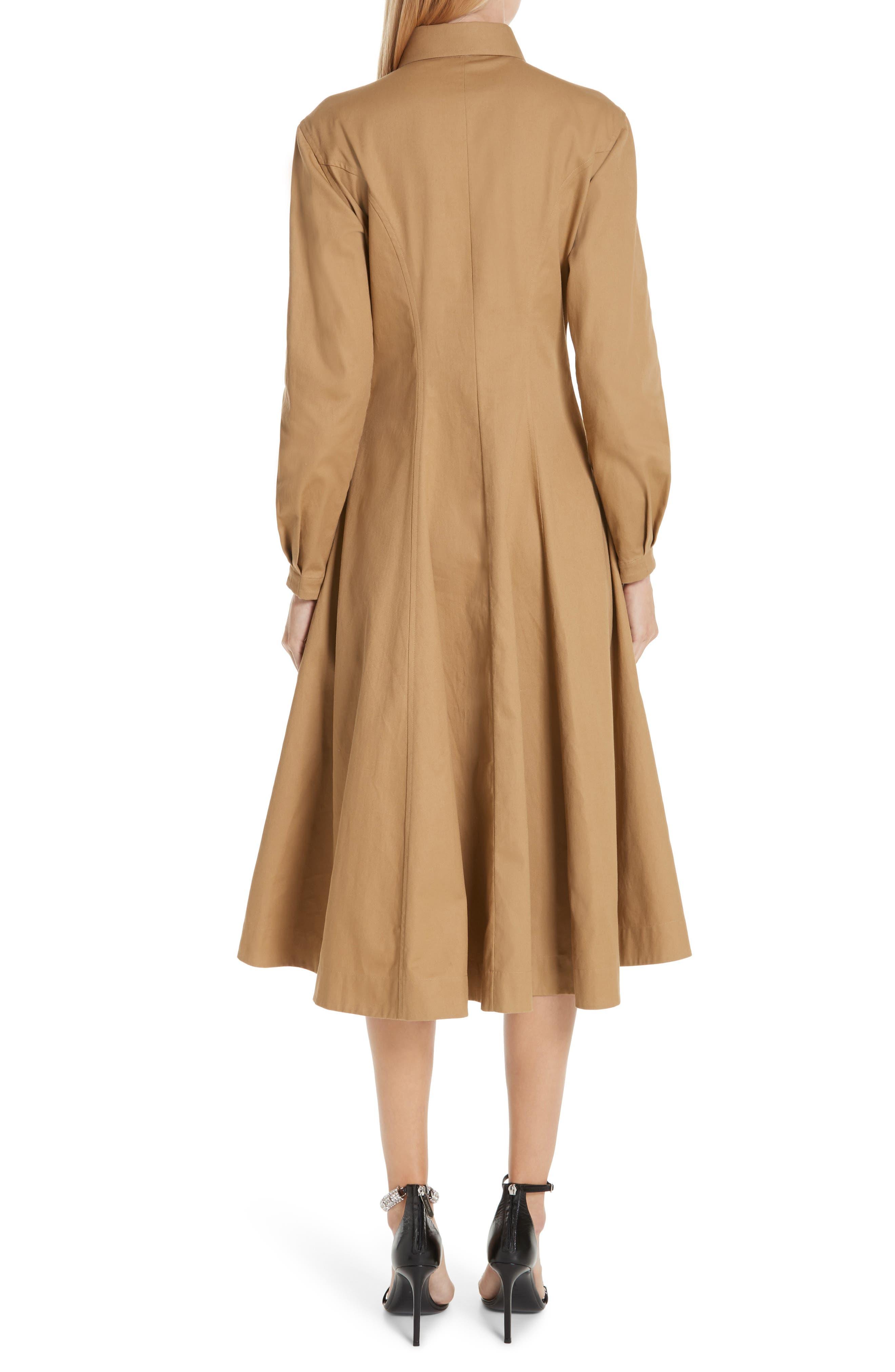 CALVIN KLEIN 205W39NYC, Western Twill A-Line Midi Dress, Alternate thumbnail 2, color, DUNE