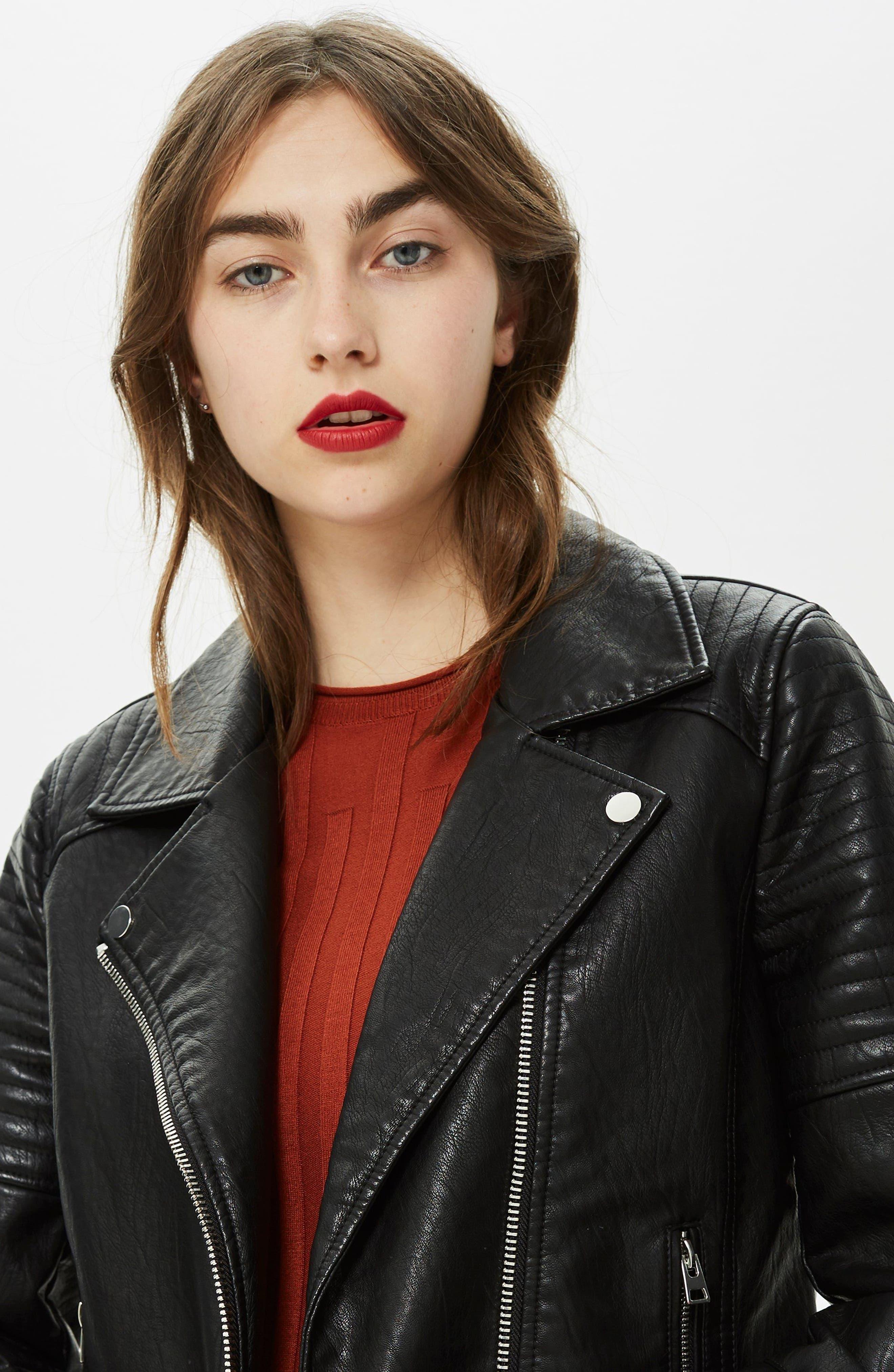 TOPSHOP, Rosa Biker Jacket, Alternate thumbnail 8, color, BLACK