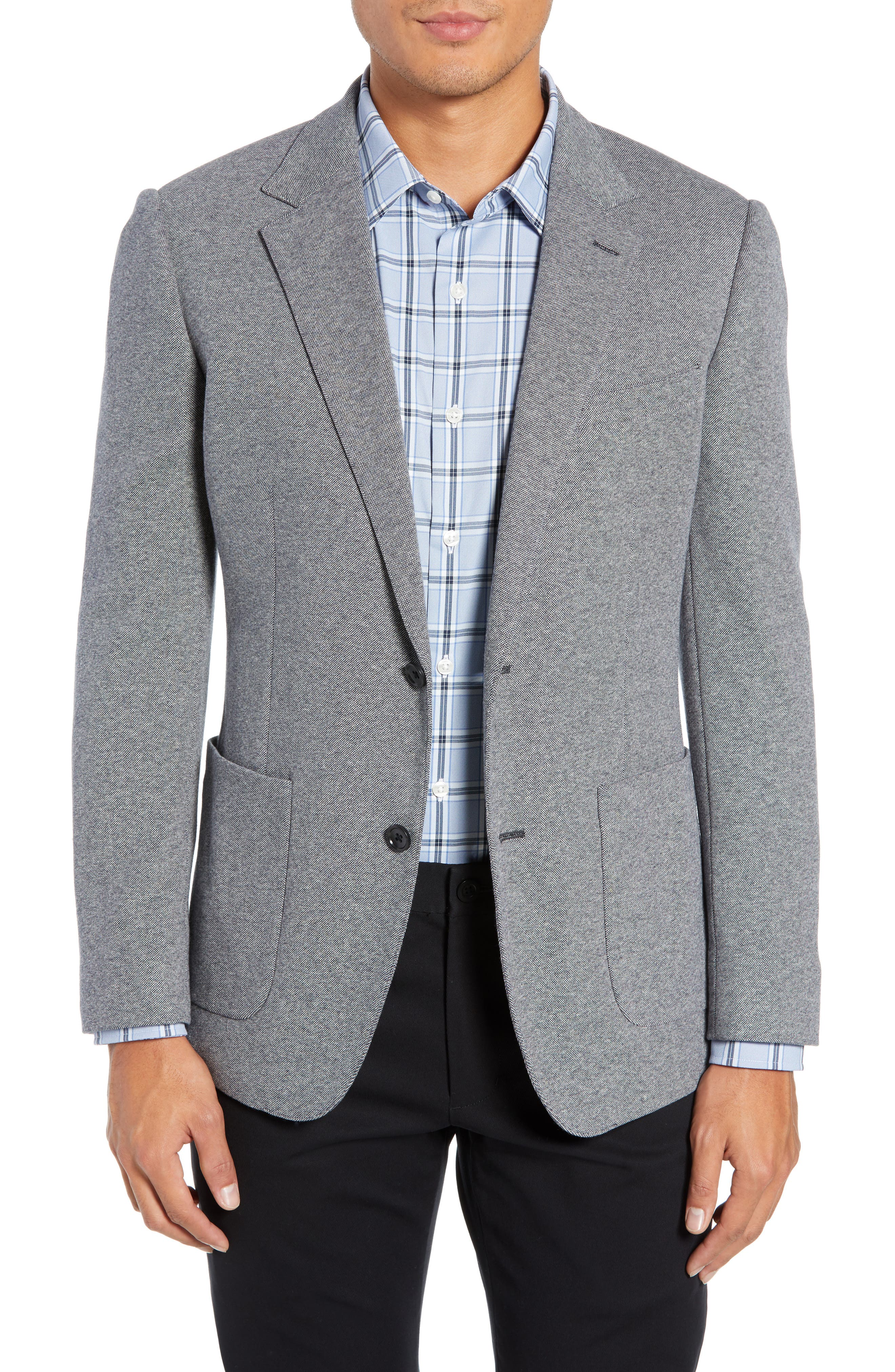 BONOBOS, Jetsetter Slim Fit Knit Cotton Sport Coat, Main thumbnail 1, color, LIGHT GREY