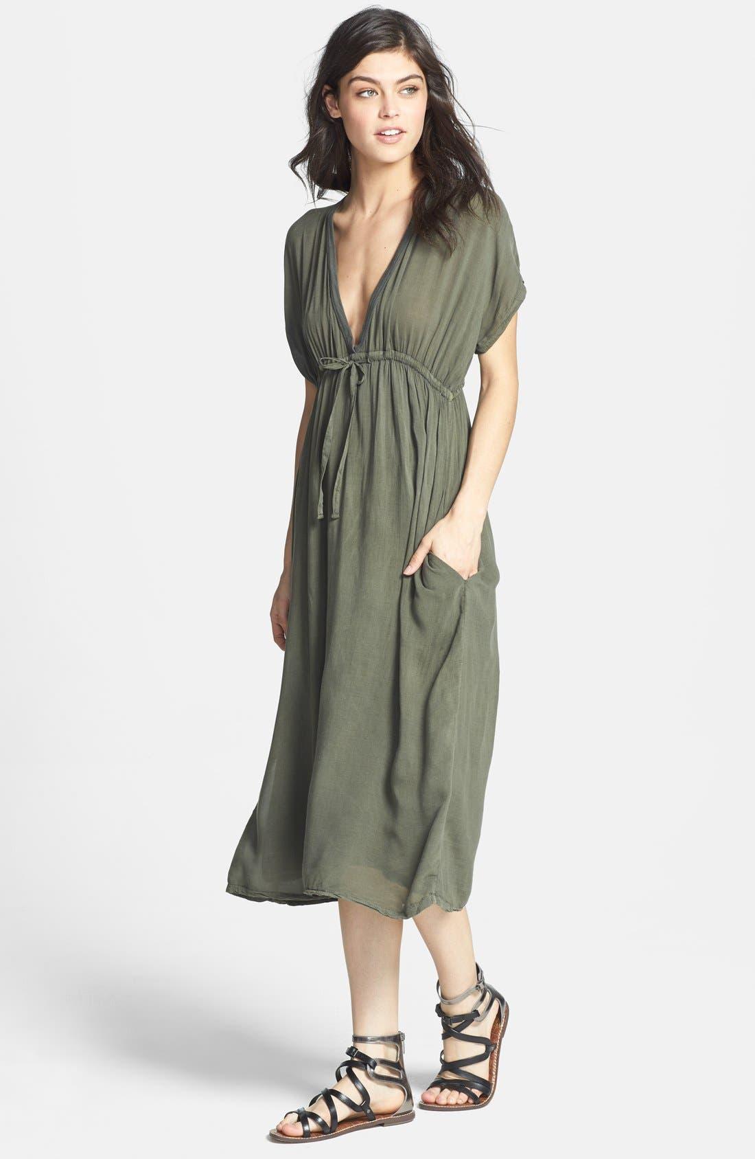JAMES PERSE Deep V-Neck Chiffon Dress, Main, color, 084