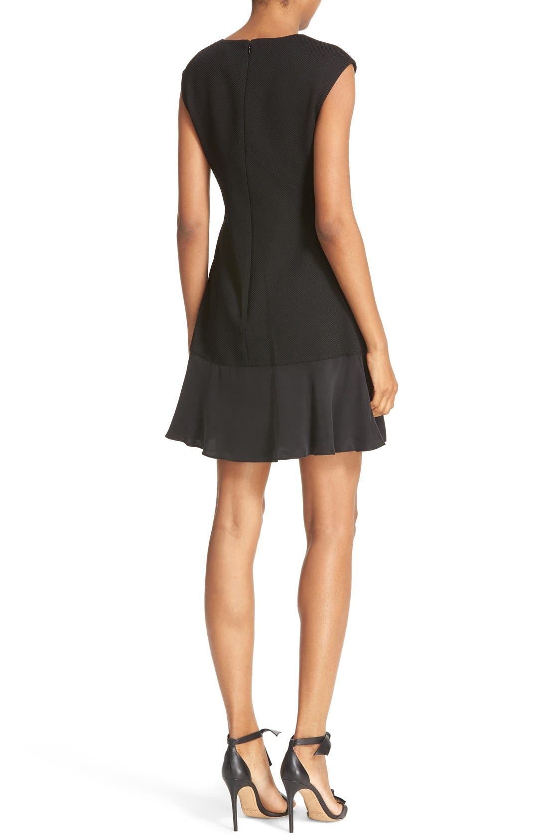 REBECCA TAYLOR, Stacy Drop Waist Dress, Alternate thumbnail 5, color, BLACK
