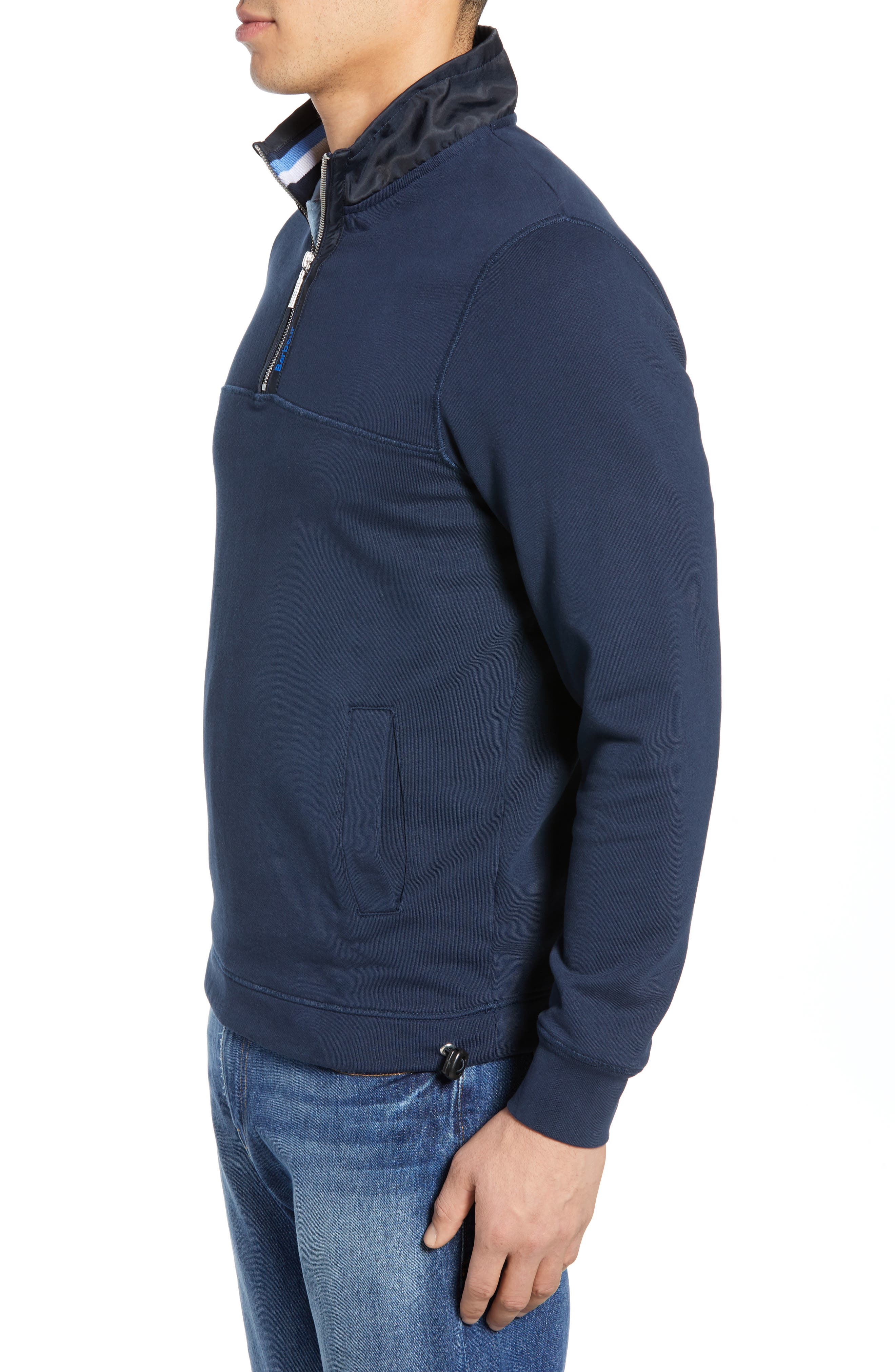 BARBOUR, Seward Half Zip Pullover, Alternate thumbnail 4, color, NAVY