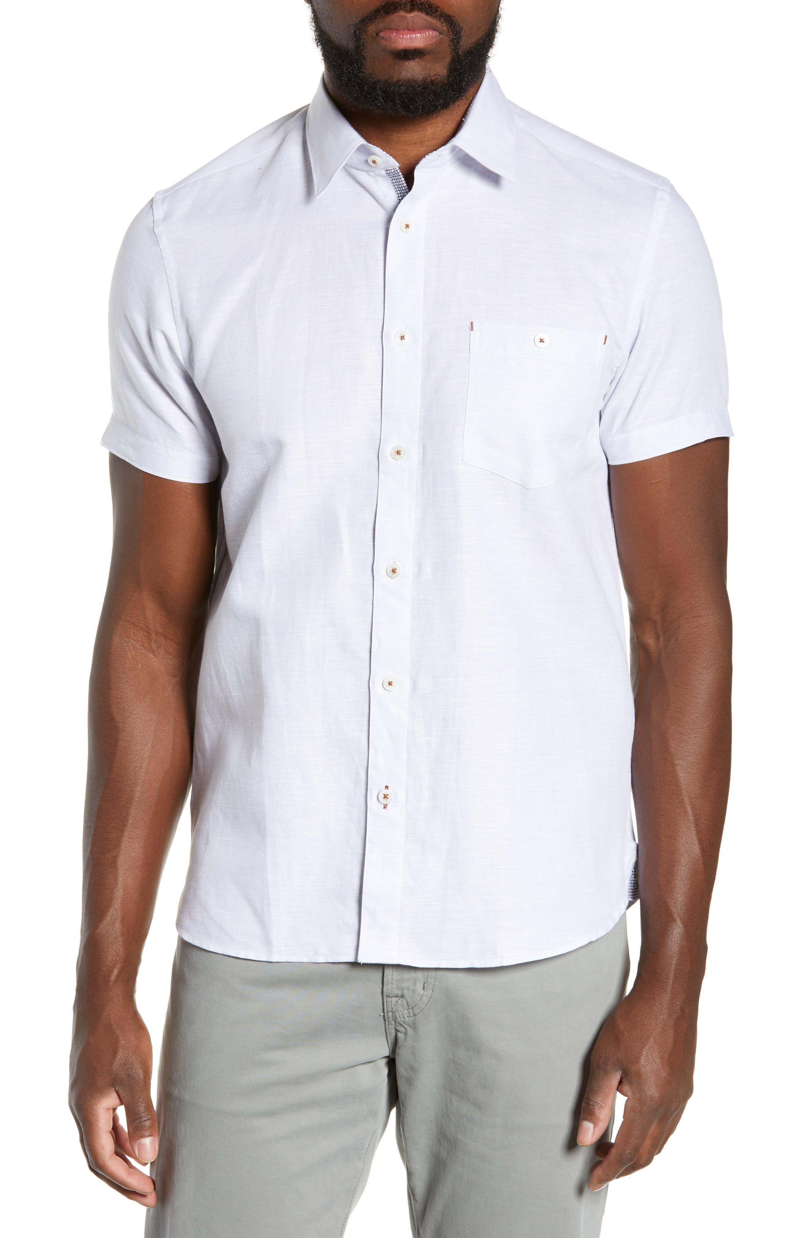 TED BAKER LONDON, Graphit Slim Fit Cotton & Linen Sport Shirt, Main thumbnail 1, color, GREY