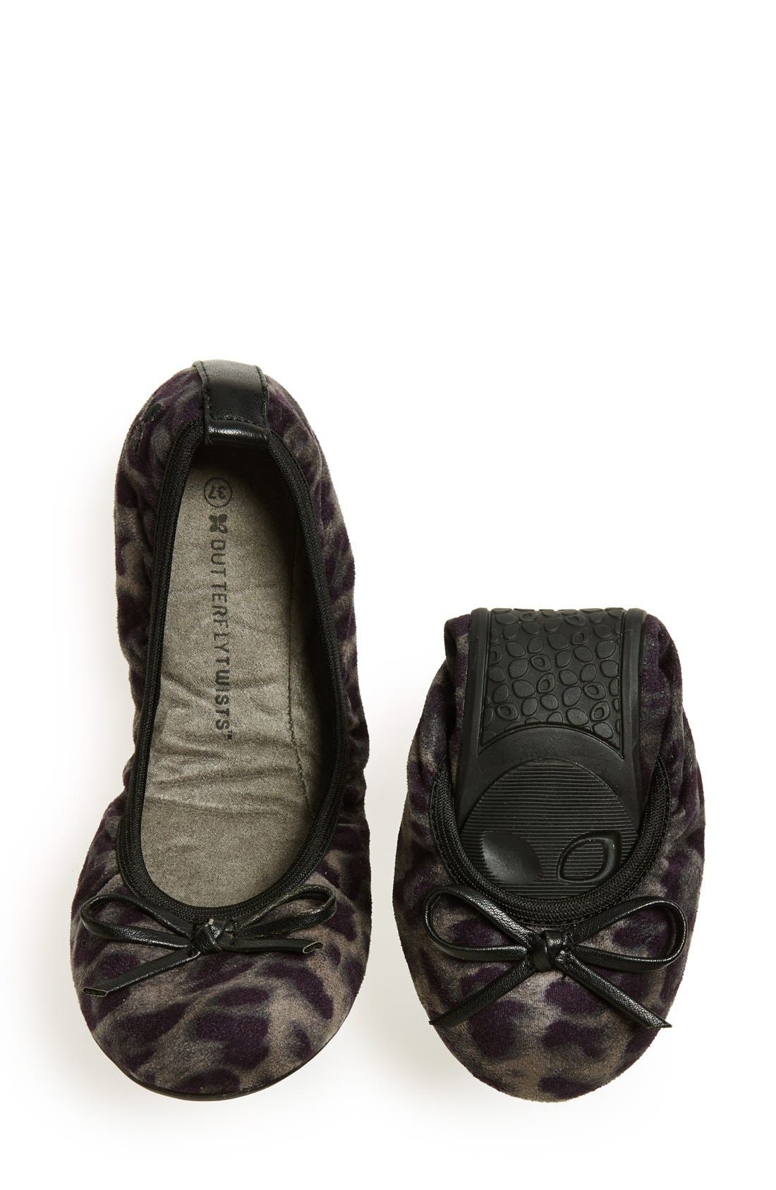 BUTTERFLY TWISTS, 'Cleo Leopard' Foldable Ballerina Flat, Alternate thumbnail 5, color, 020
