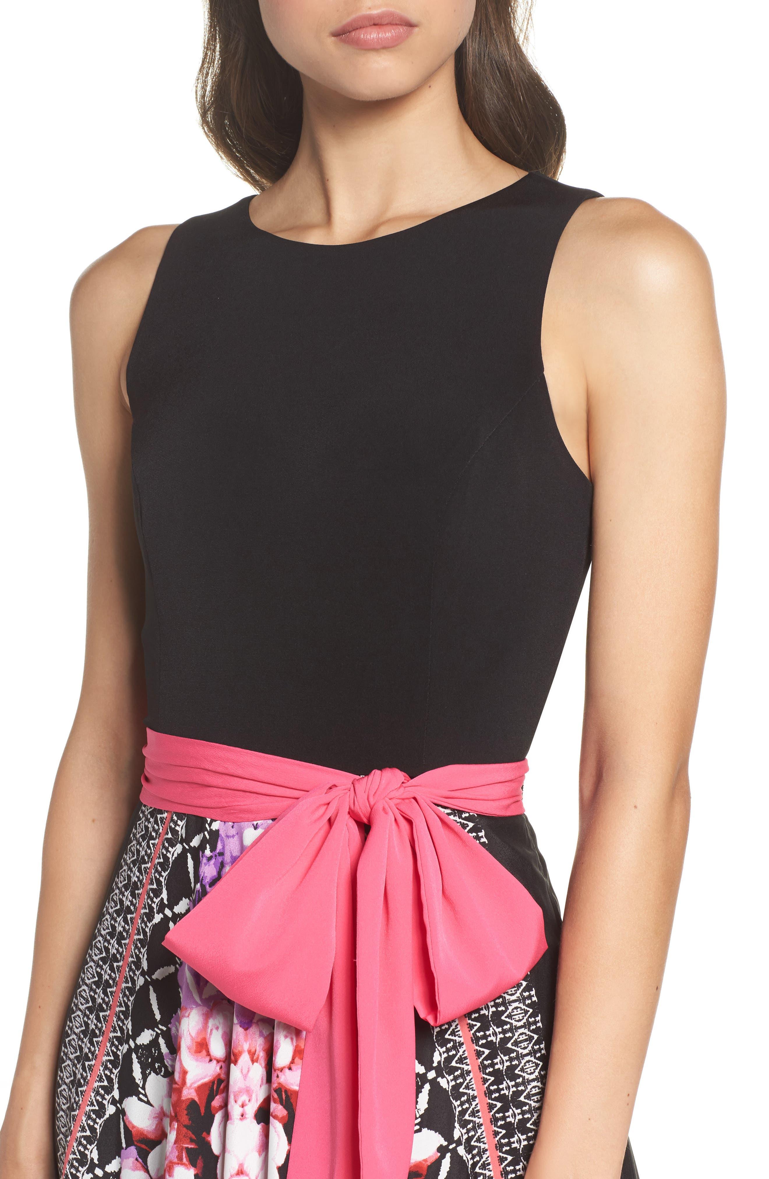 ELIZA J, Scarf Print Jersey & Crêpe de Chine Maxi Dress, Alternate thumbnail 4, color, 001