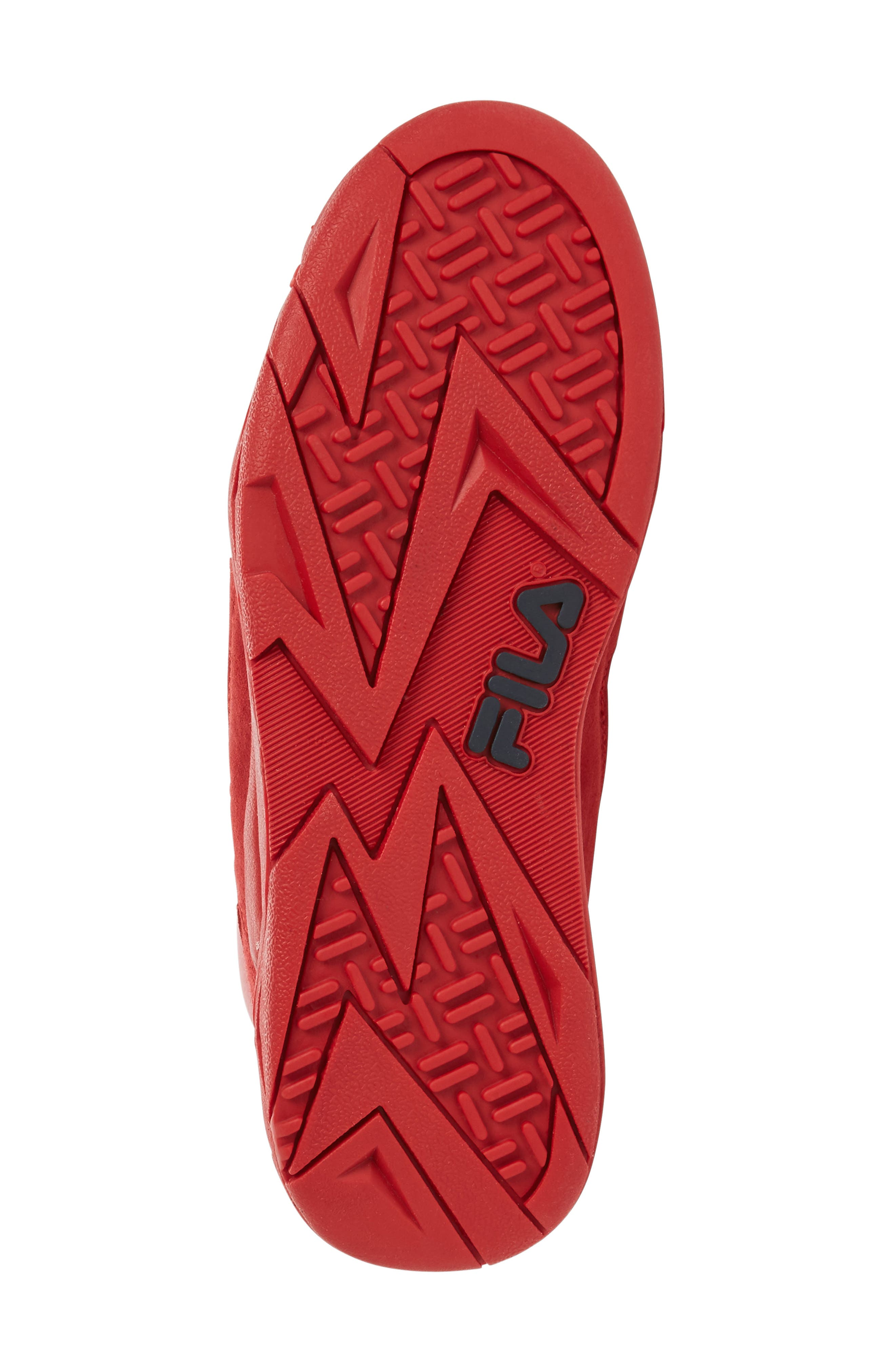 FILA, The Cage High Top Sneaker, Alternate thumbnail 4, color, RED SUEDE