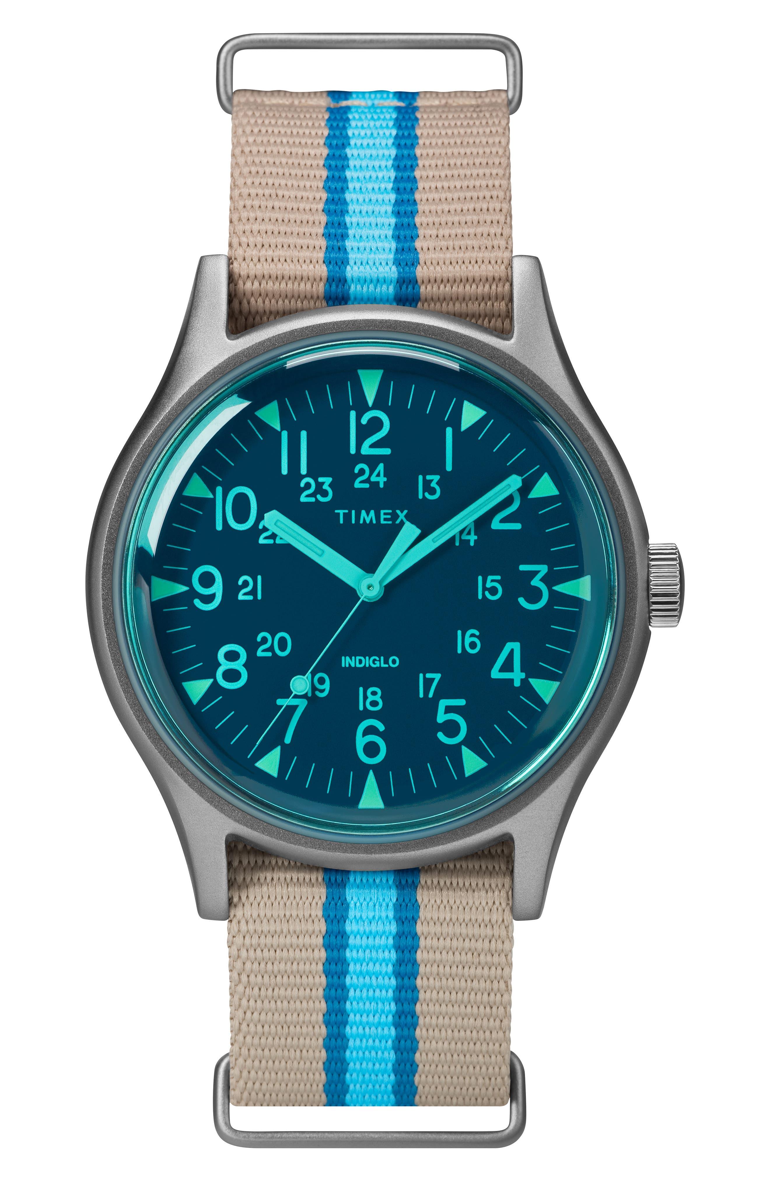 TIMEX<SUP>®</SUP>, MK1 Nylon Strap Watch, 40mm, Main thumbnail 1, color, TAN/ BLUE/ GREY