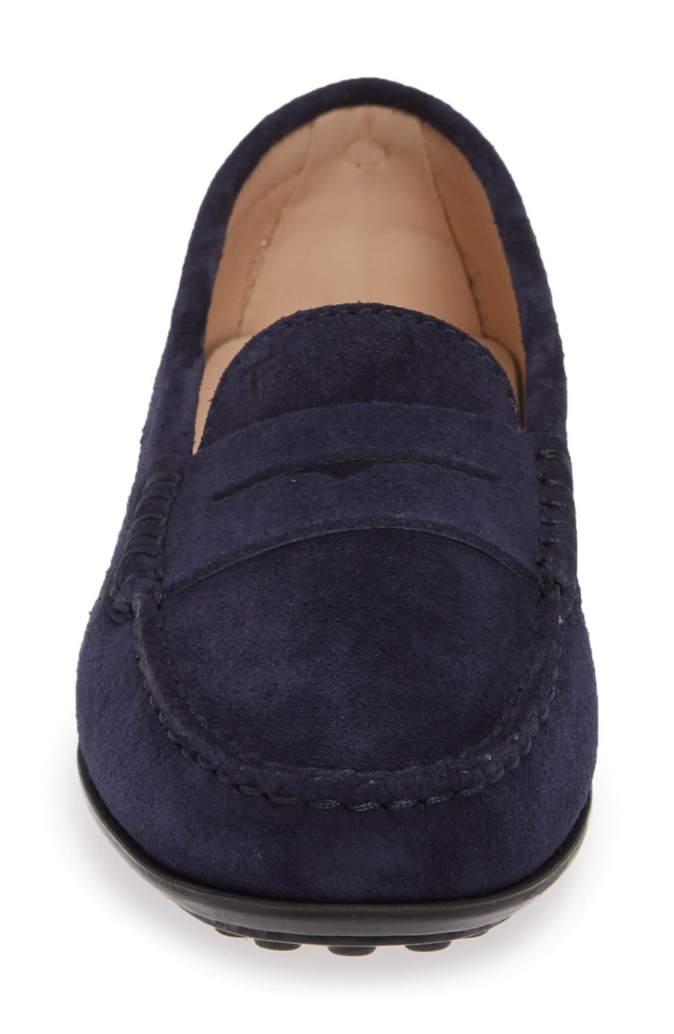 TOD'S, 'Gommini' Driving Moccasin, Alternate thumbnail 4, color, NAVY SUEDE