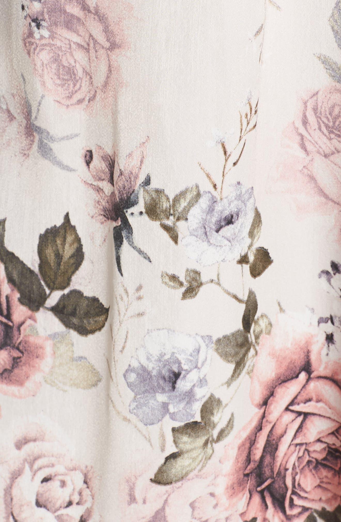 MIDNIGHT BAKERY, Satin Kimono Wrap, Alternate thumbnail 5, color, PRIMROSE PRINT