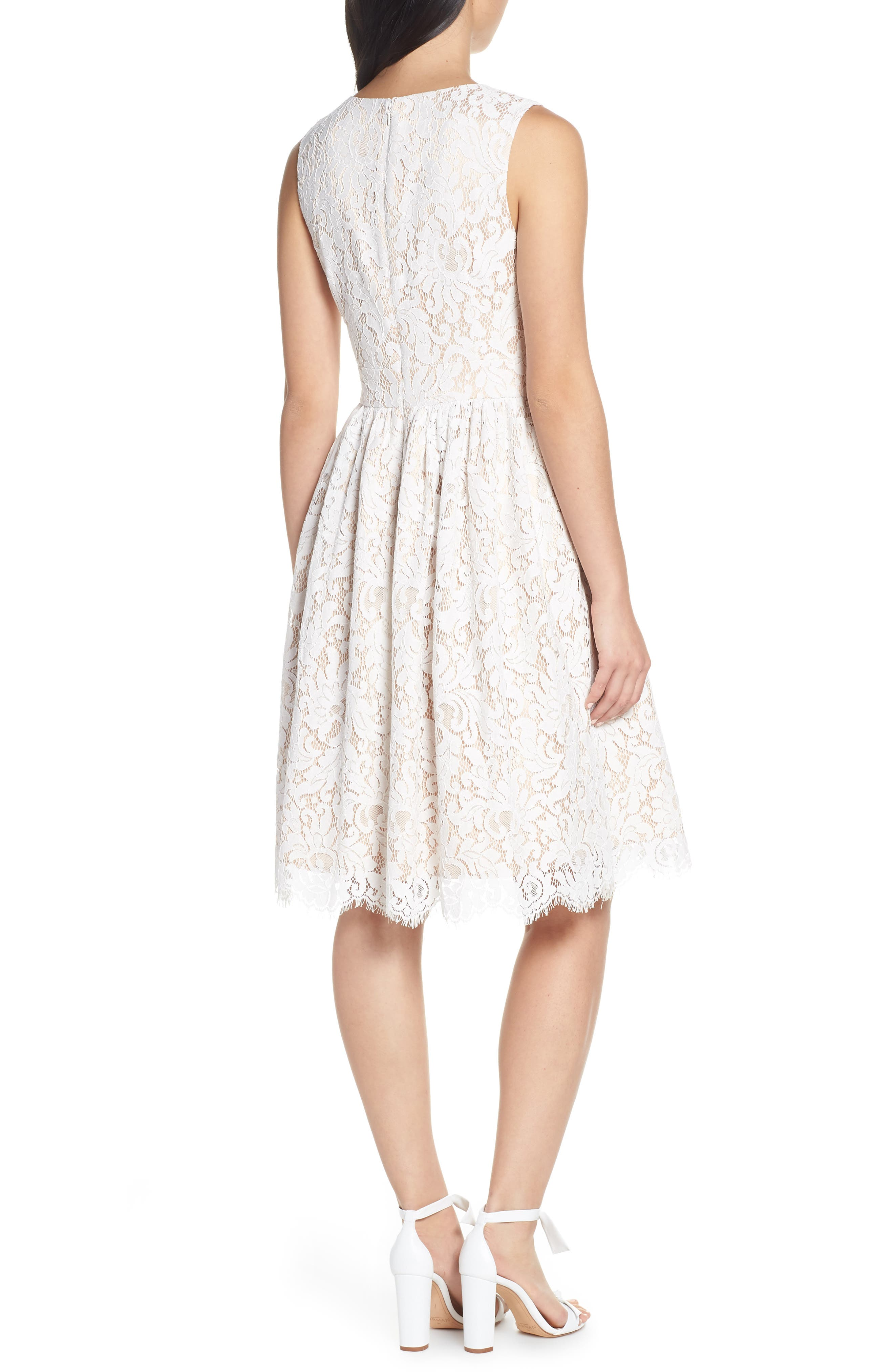 ELIZA J, Lace Fit & Flare Dress, Alternate thumbnail 2, color, IVORY