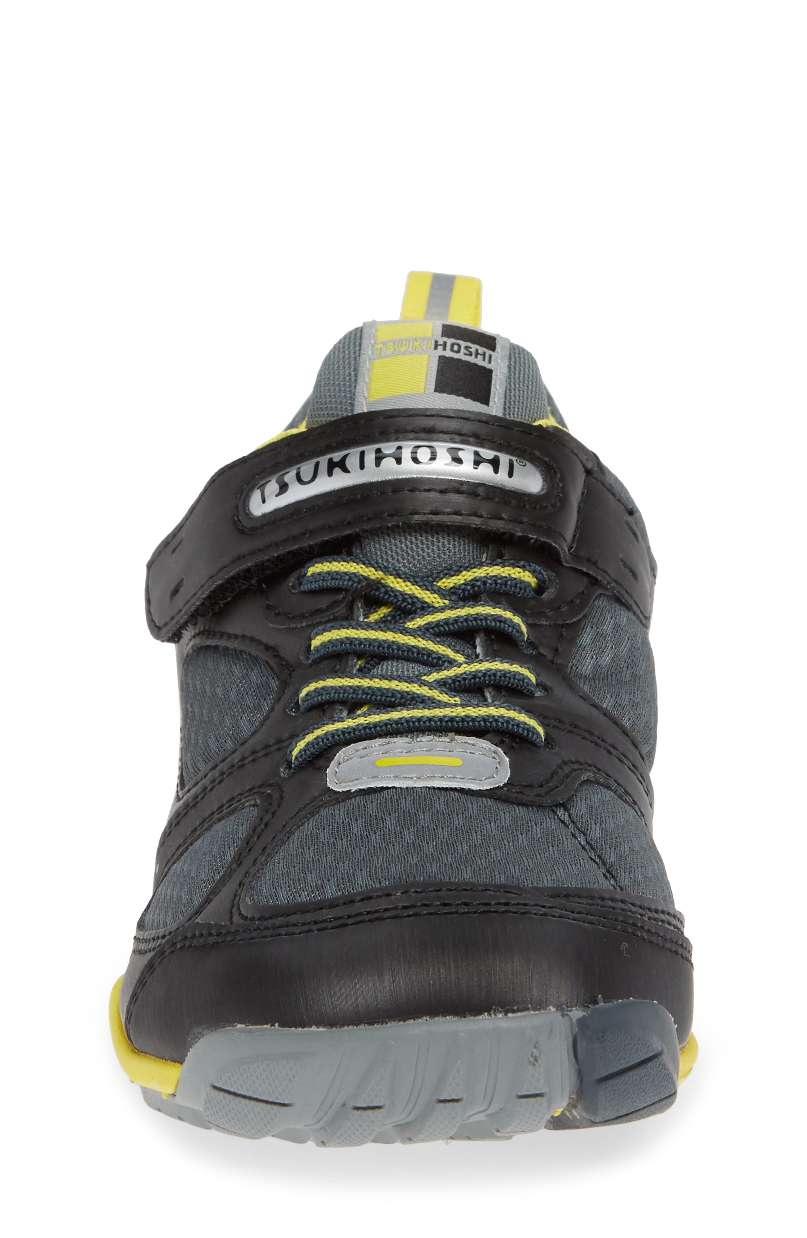 TSUKIHOSHI, Mako Washable Sneaker, Alternate thumbnail 4, color, BLACK/ YELLOW