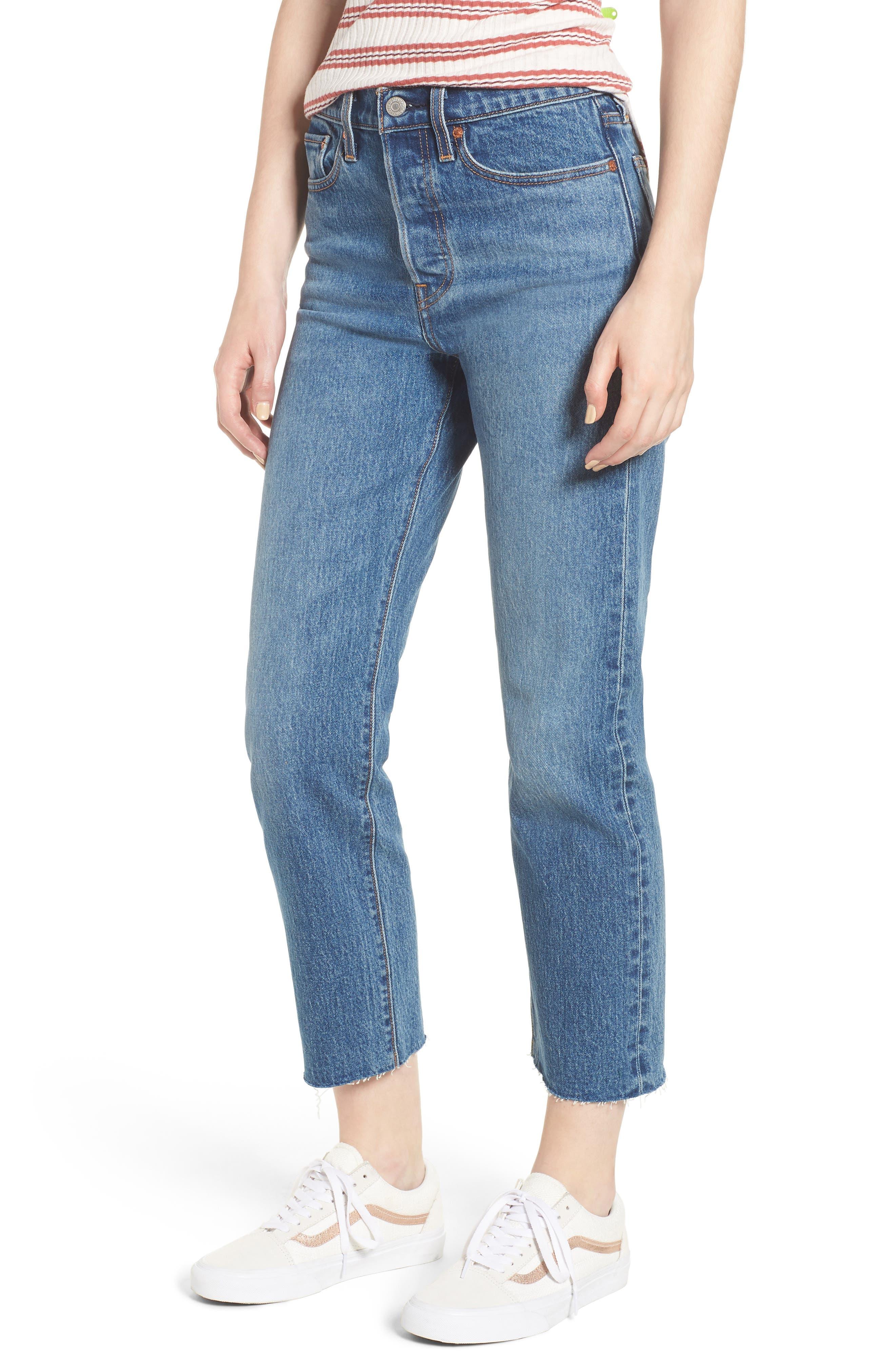 LEVI'S<SUP>®</SUP>, Wedgie Raw Hem High Waist Straight Leg Jeans, Main thumbnail 1, color, LOVE TRIANGLE