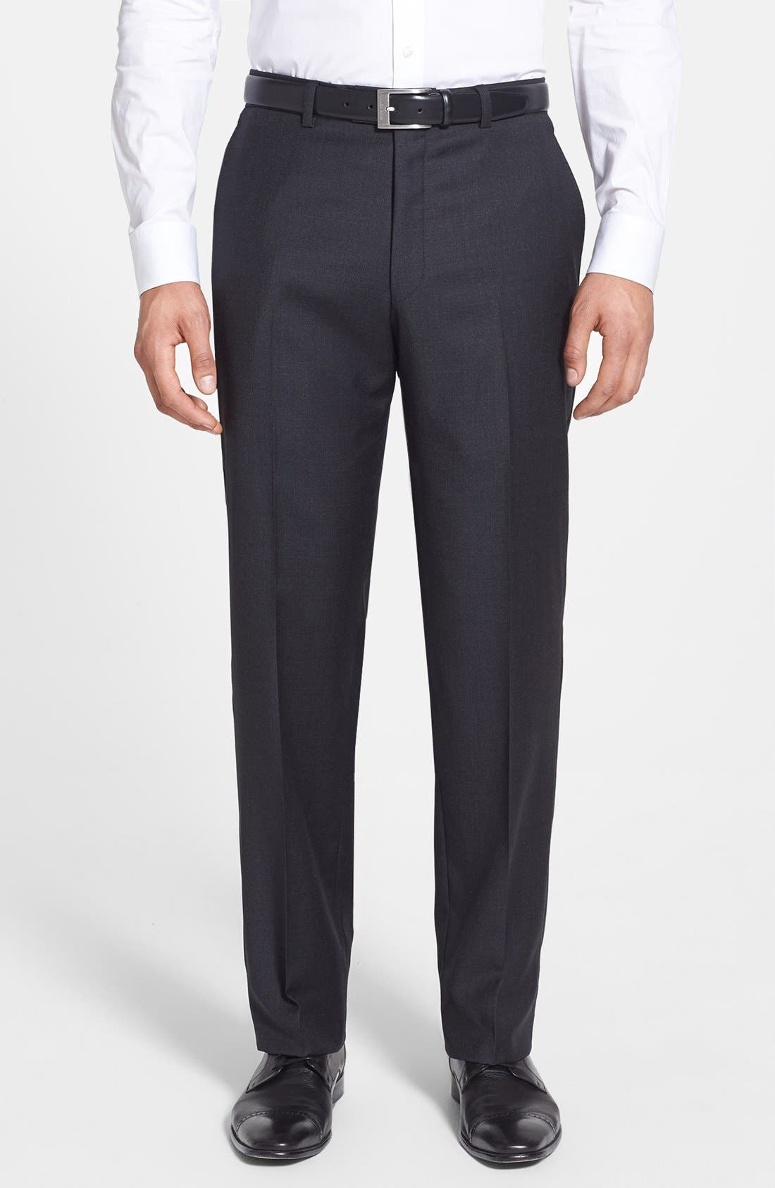 HART SCHAFFNER MARX, New York Classic Fit Solid Stretch Wool Suit, Alternate thumbnail 5, color, GREY