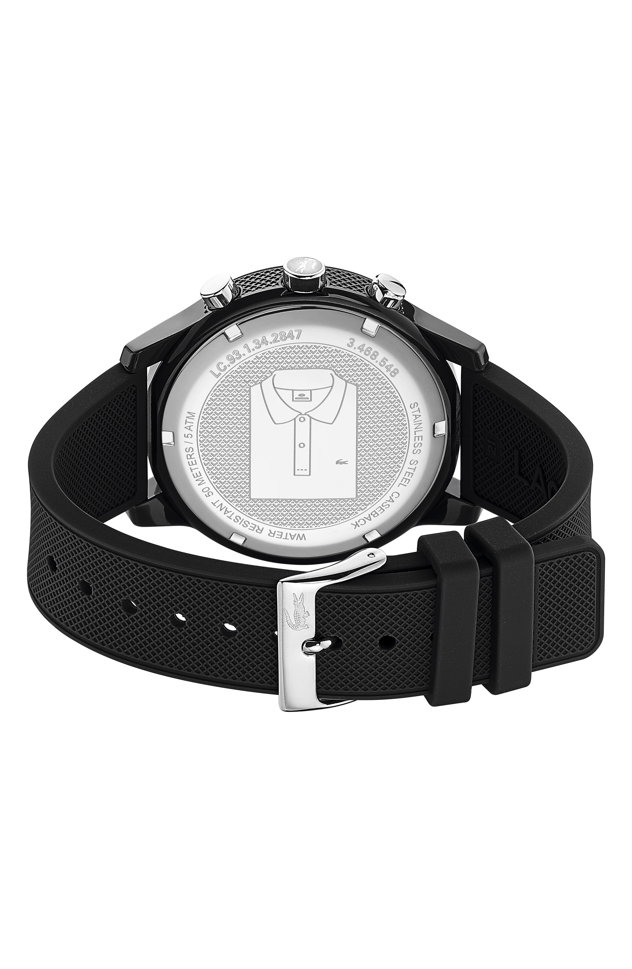 LACOSTE, 12.12 Chronograph Silicone Band Watch, 44mm, Alternate thumbnail 2, color, BLACK