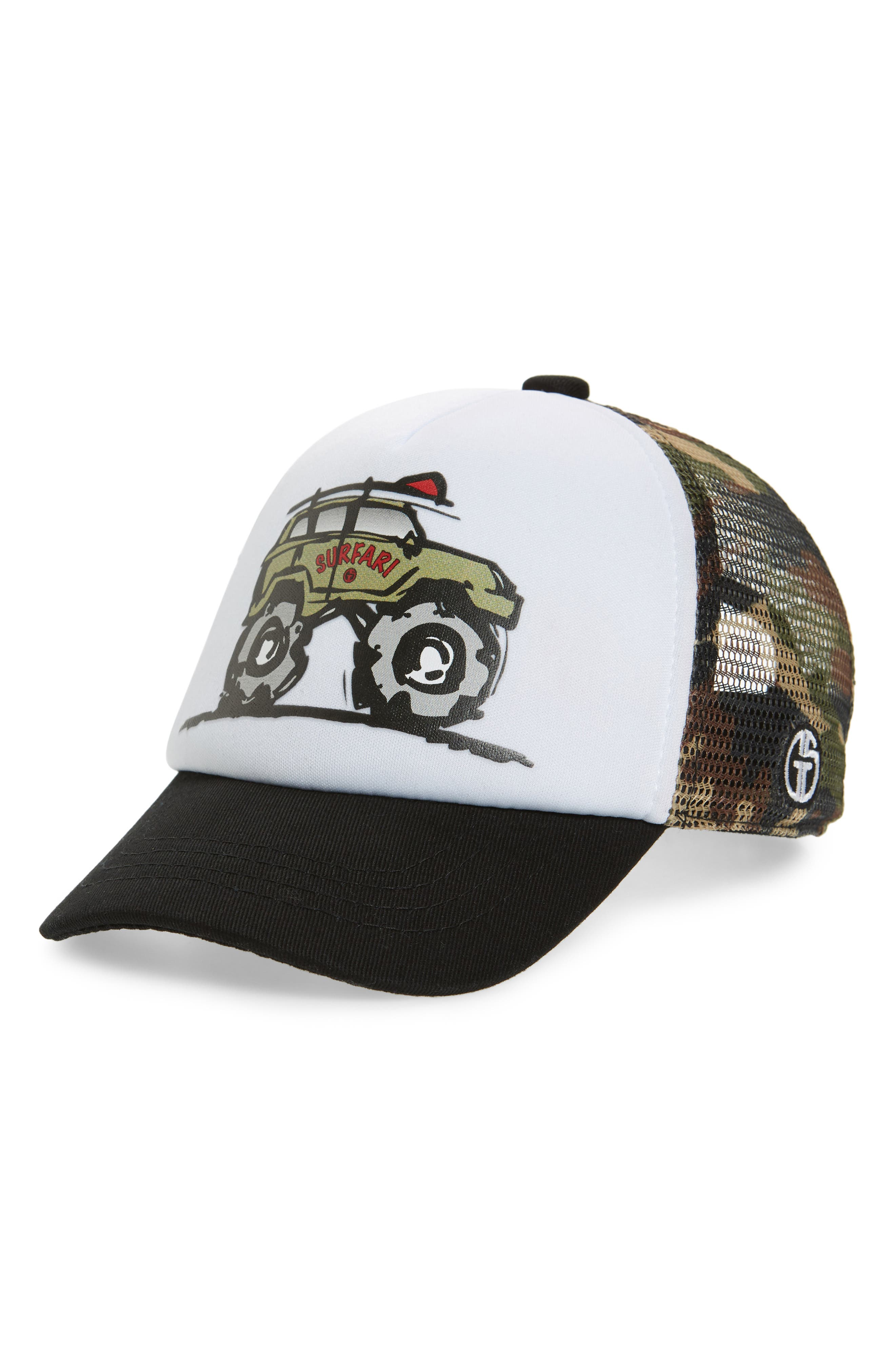 GROM SQUAD, Surfari Trucker Hat, Main thumbnail 1, color, CAMO/ WHITE