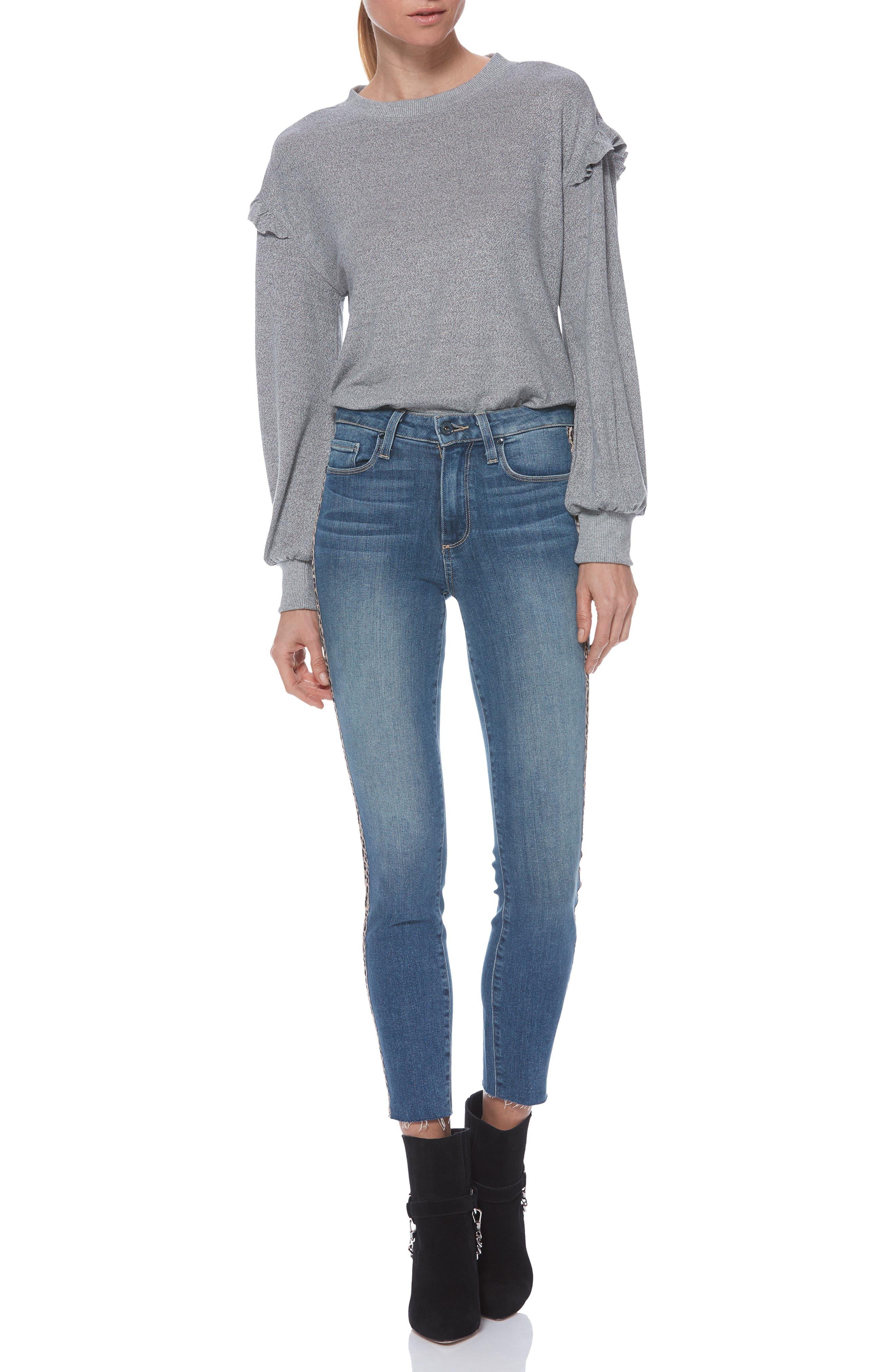 PAIGE, Hoxton High Waist Raw Hem Crop Skinny Jeans, Alternate thumbnail 7, color, BARKLEY W/ LEOPARD