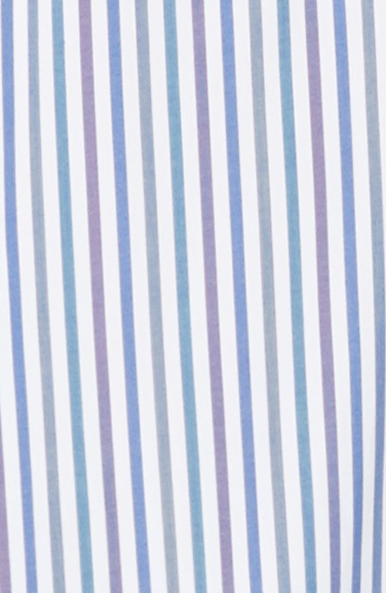 BUGATCHI, Classic Fit Stripe Sport Shirt, Alternate thumbnail 6, color, CHALK
